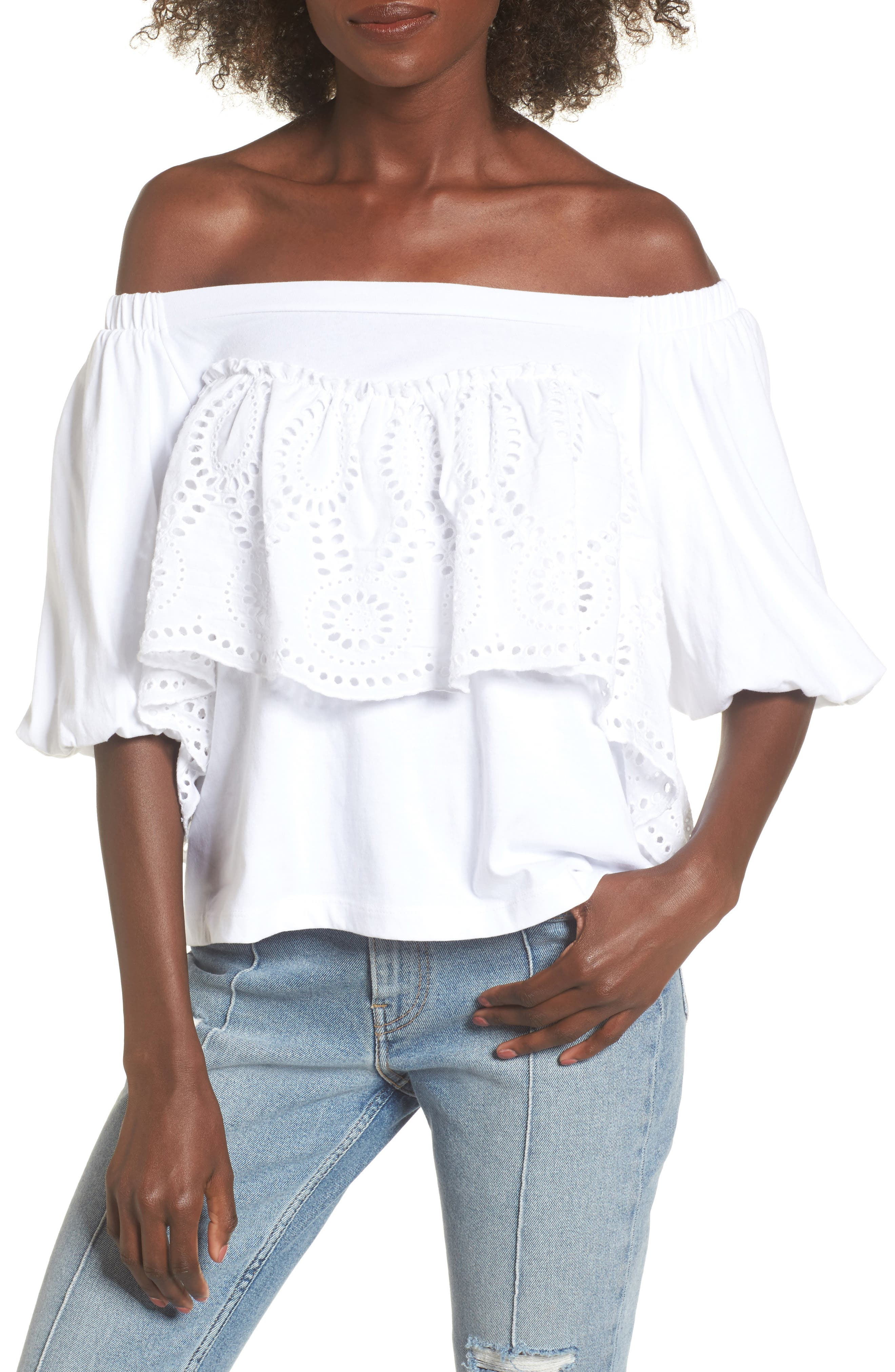 Eyelet Ruffle Off the Shoulder Top,                             Main thumbnail 1, color,                             100