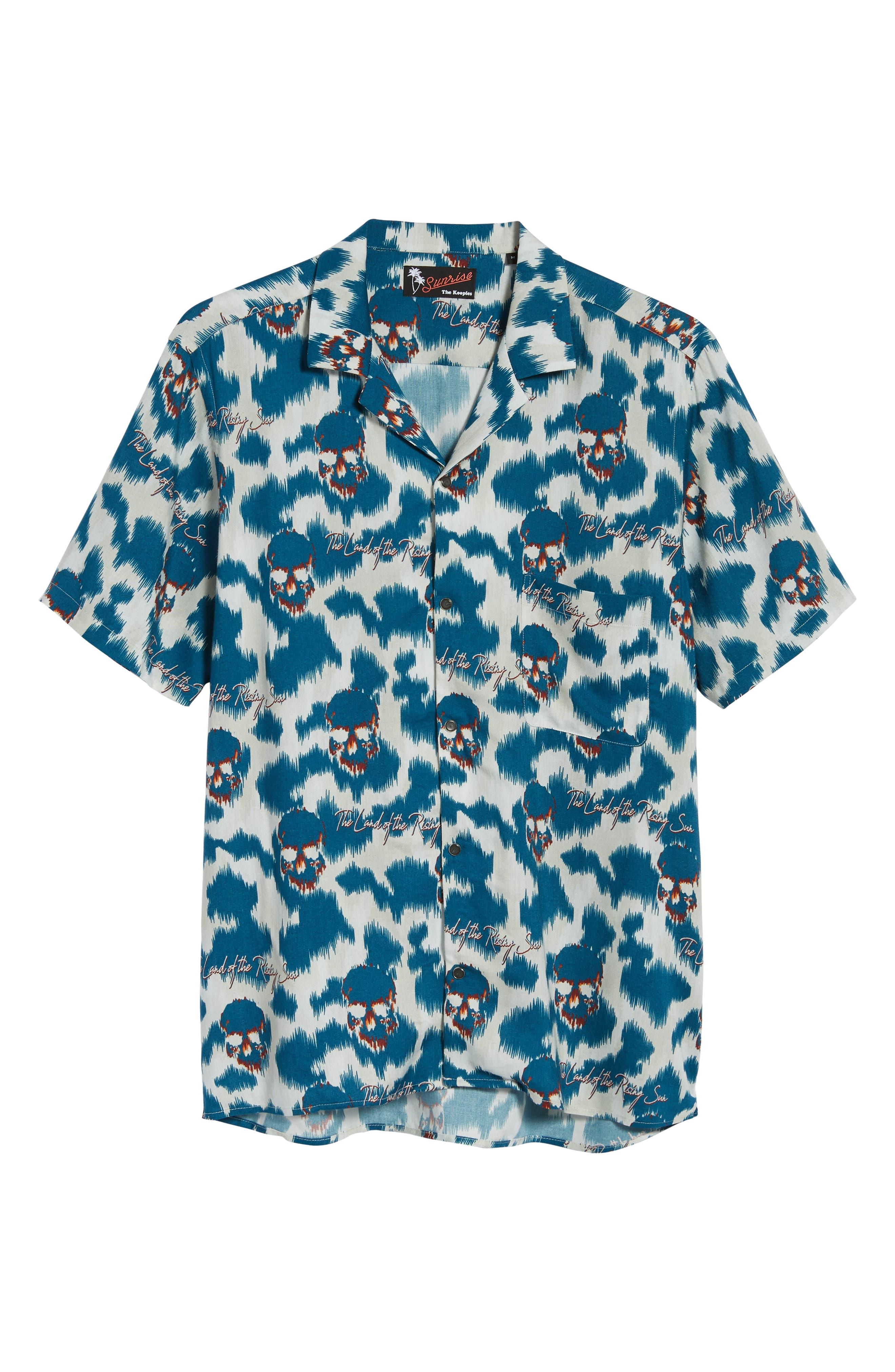THE KOOPLES,                             Regular Fit Hawaiian Shirt,                             Alternate thumbnail 6, color,                             400