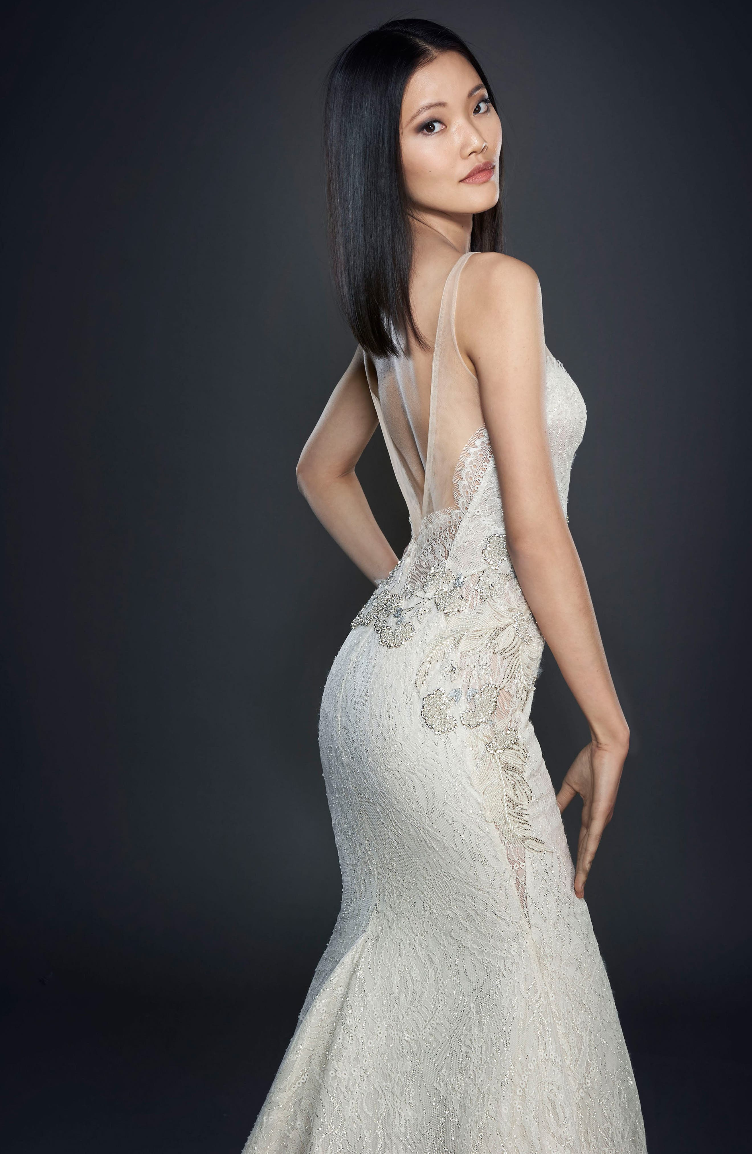Glitter Embellished Lace Gown,                             Alternate thumbnail 2, color,                             IVORY