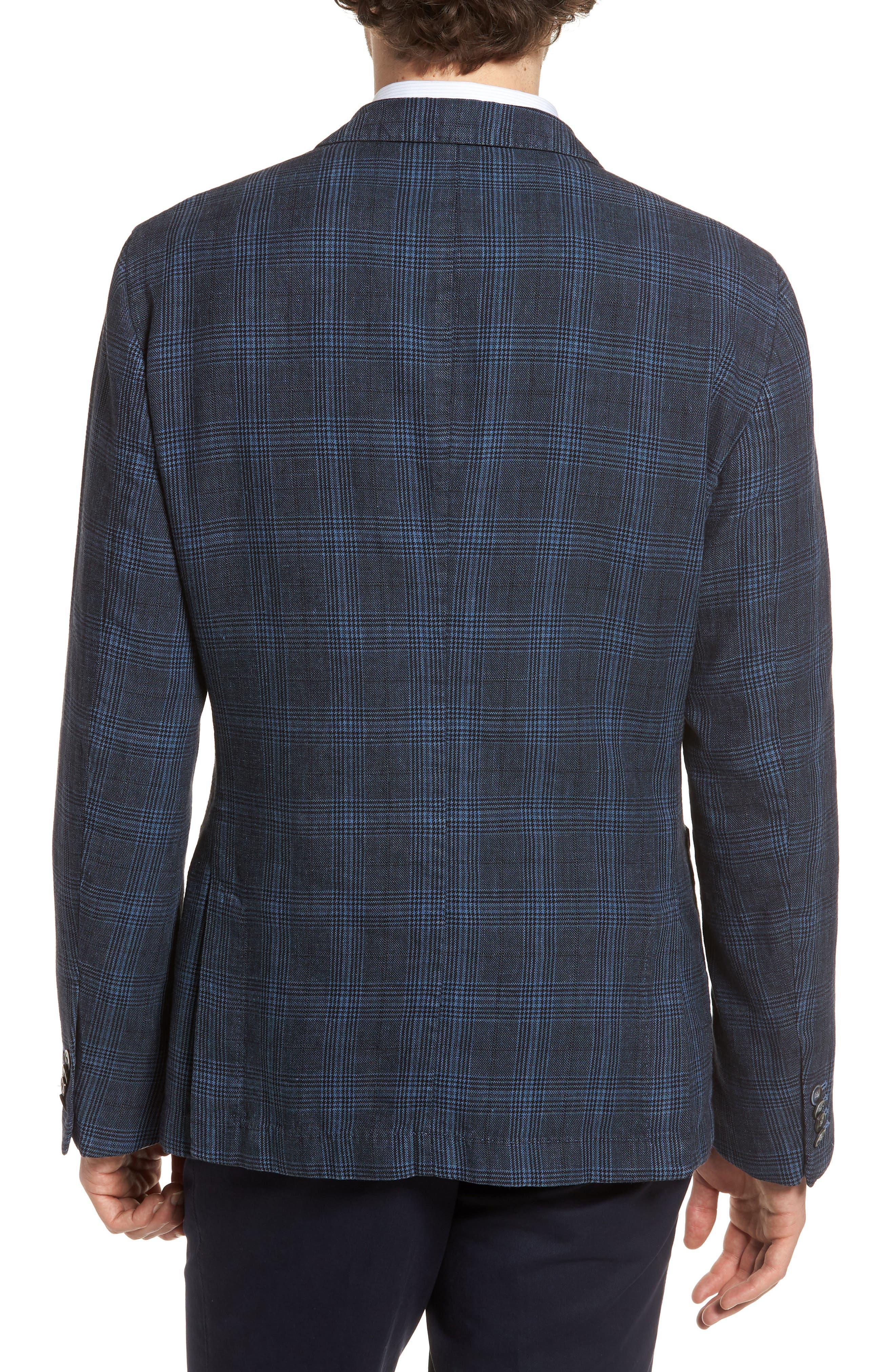Hanry-D Trim Fit Plaid Linen & Cotton Sport Coat,                             Alternate thumbnail 2, color,                             BLUE