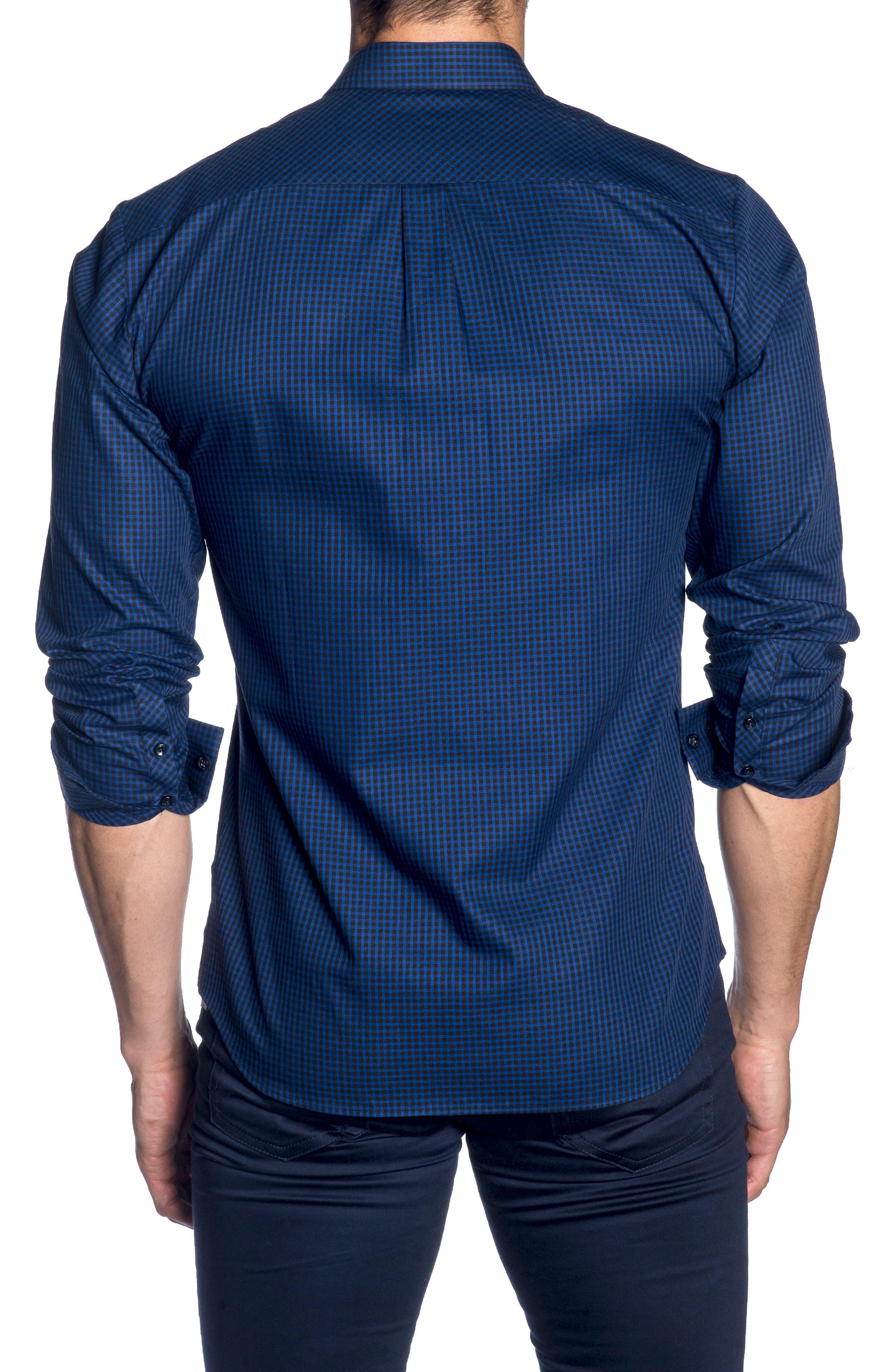 Trim Fit Sport Shirt,                             Alternate thumbnail 2, color,                             BLACK BLUE MICRO CHECK