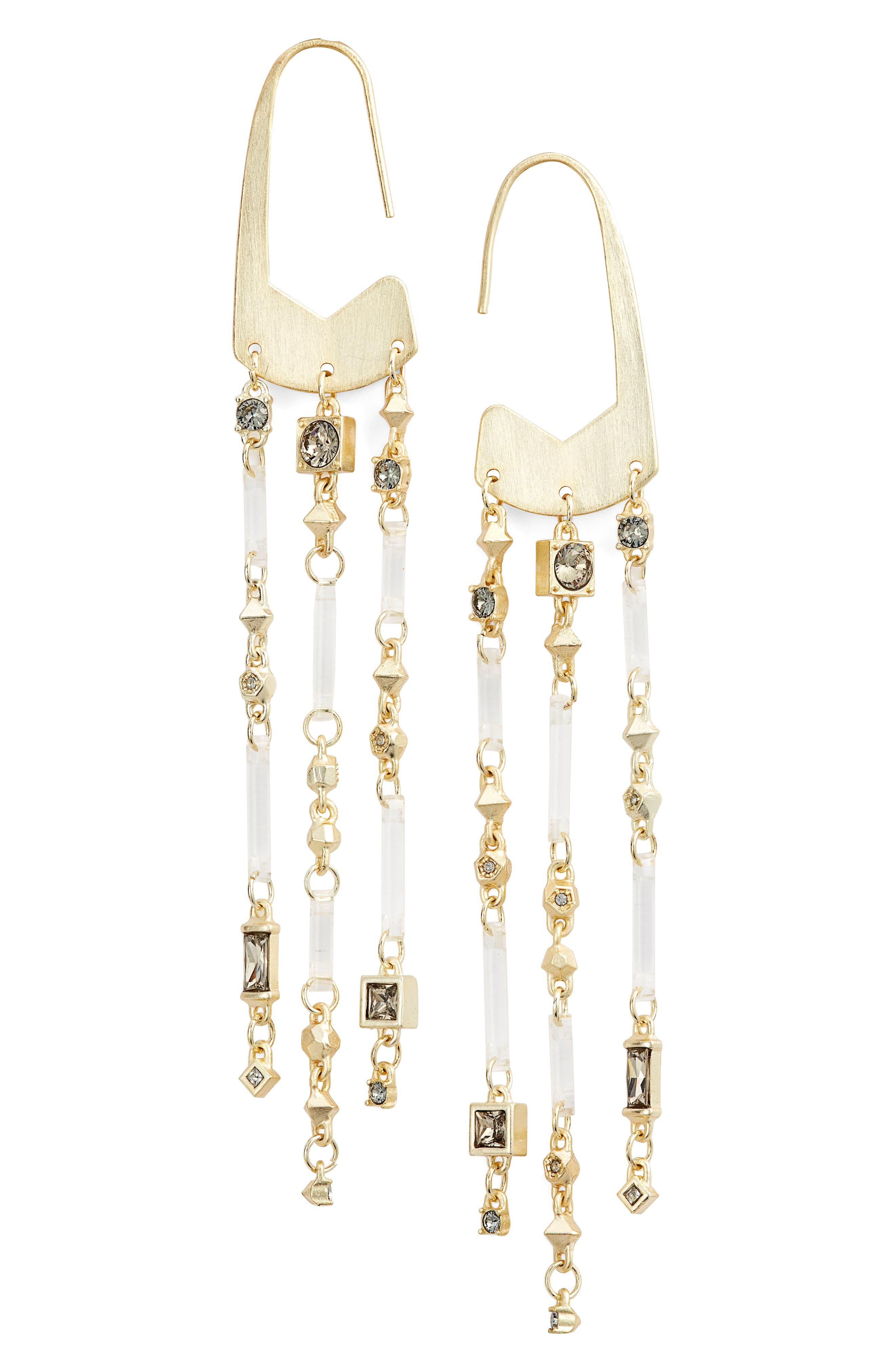 Corza Long Statement Earrings in Smoky Mix/ Gold