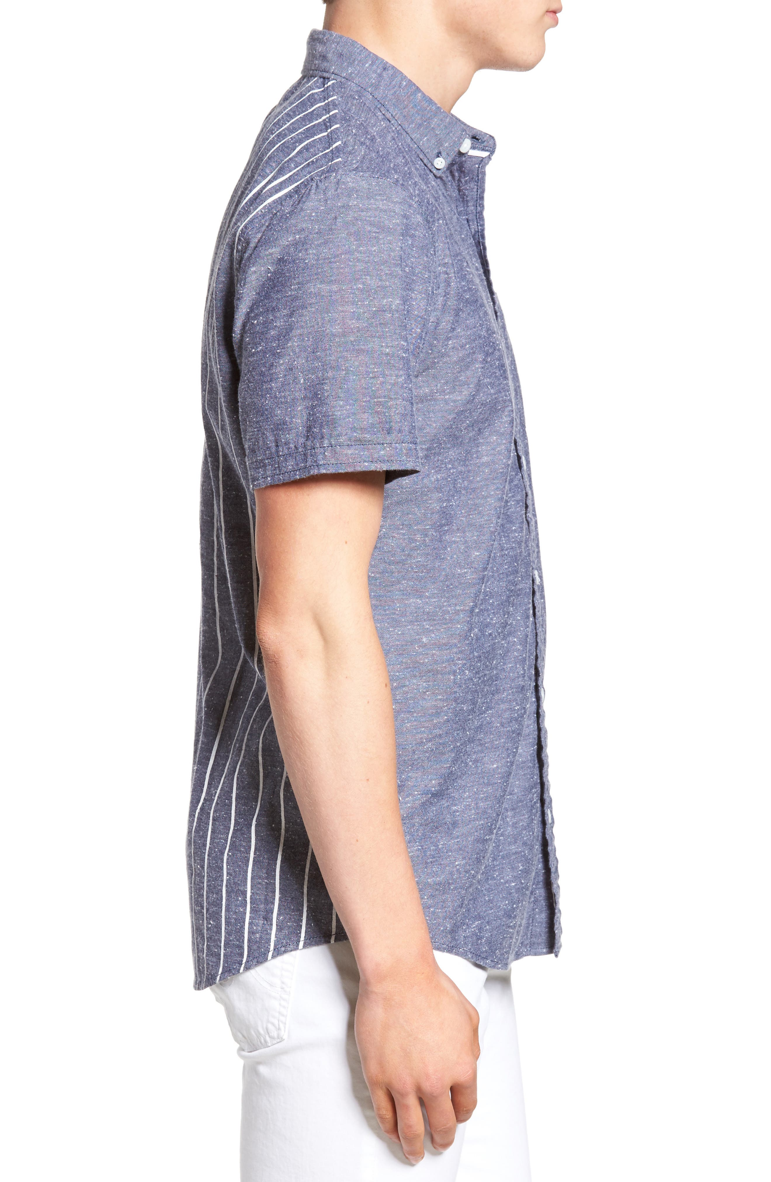 Placed Stripe Chambray Shirt,                             Alternate thumbnail 3, color,                             410