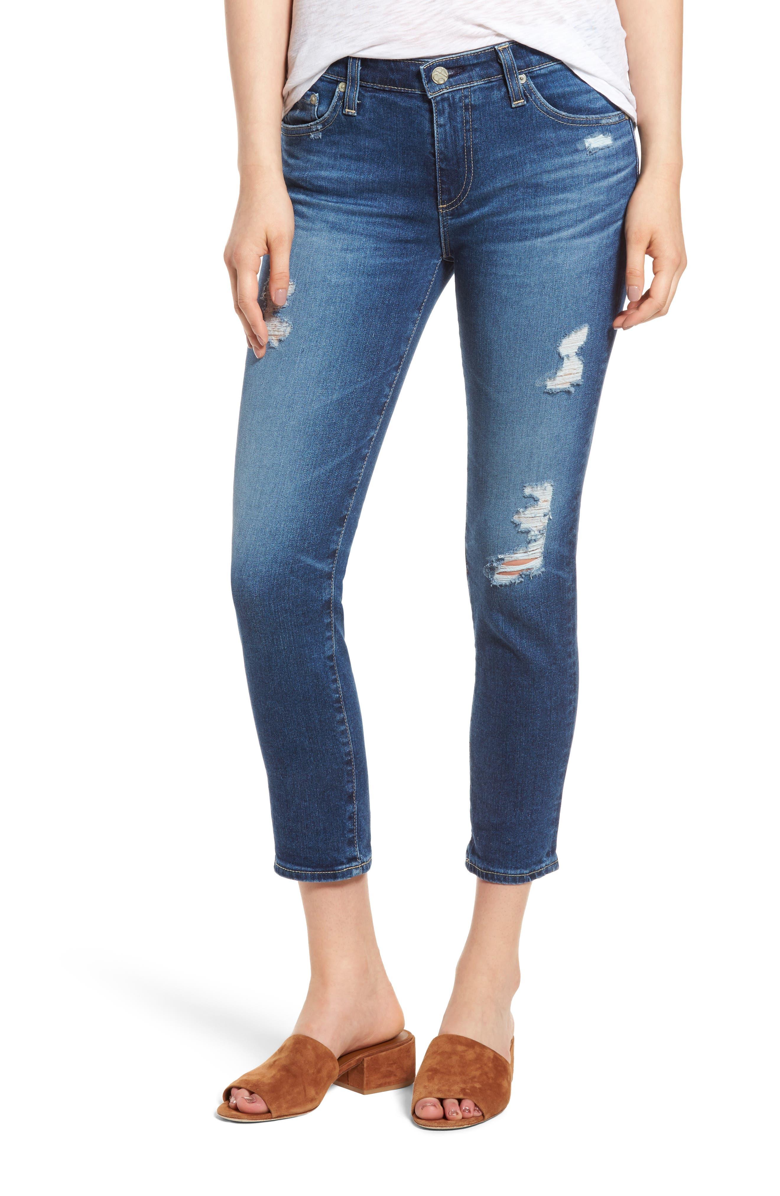 Prima Distressed Crop Cigarette Jeans,                             Main thumbnail 3, color,