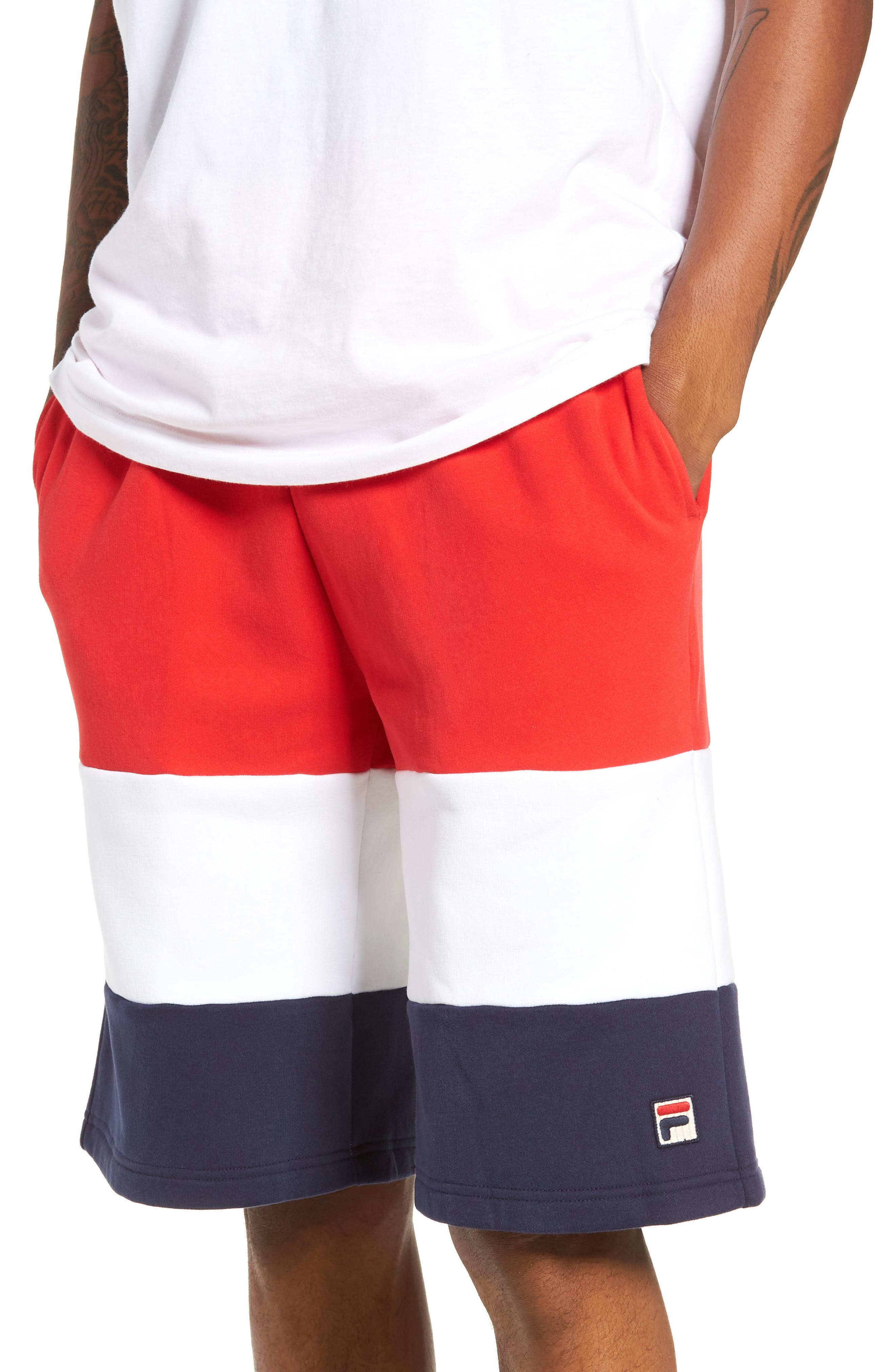 Alanzo Shorts,                             Main thumbnail 1, color,                             CHINESE RED/ WHITE/ NAVY