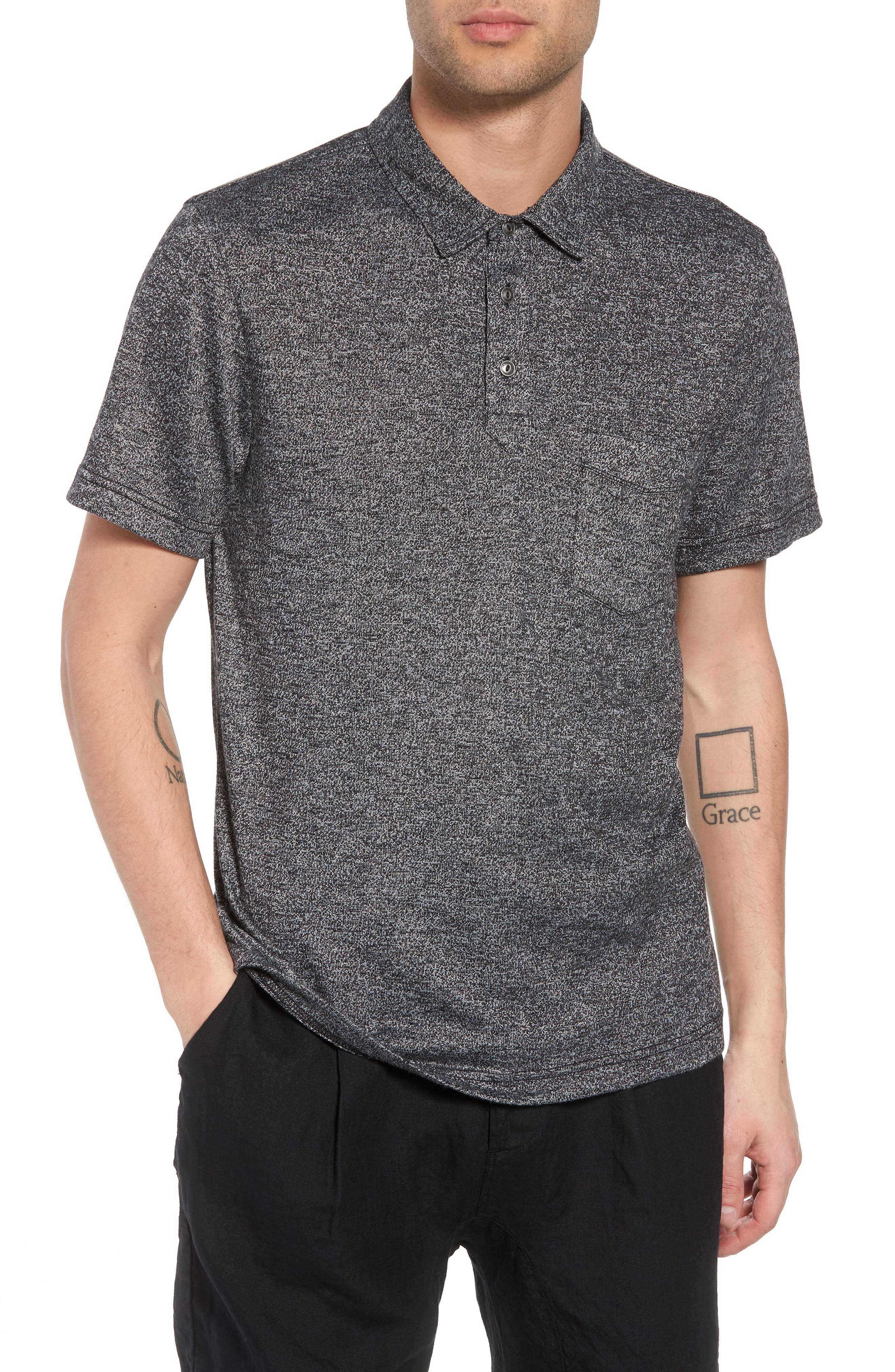 Marled Knit Polo,                         Main,                         color, 001