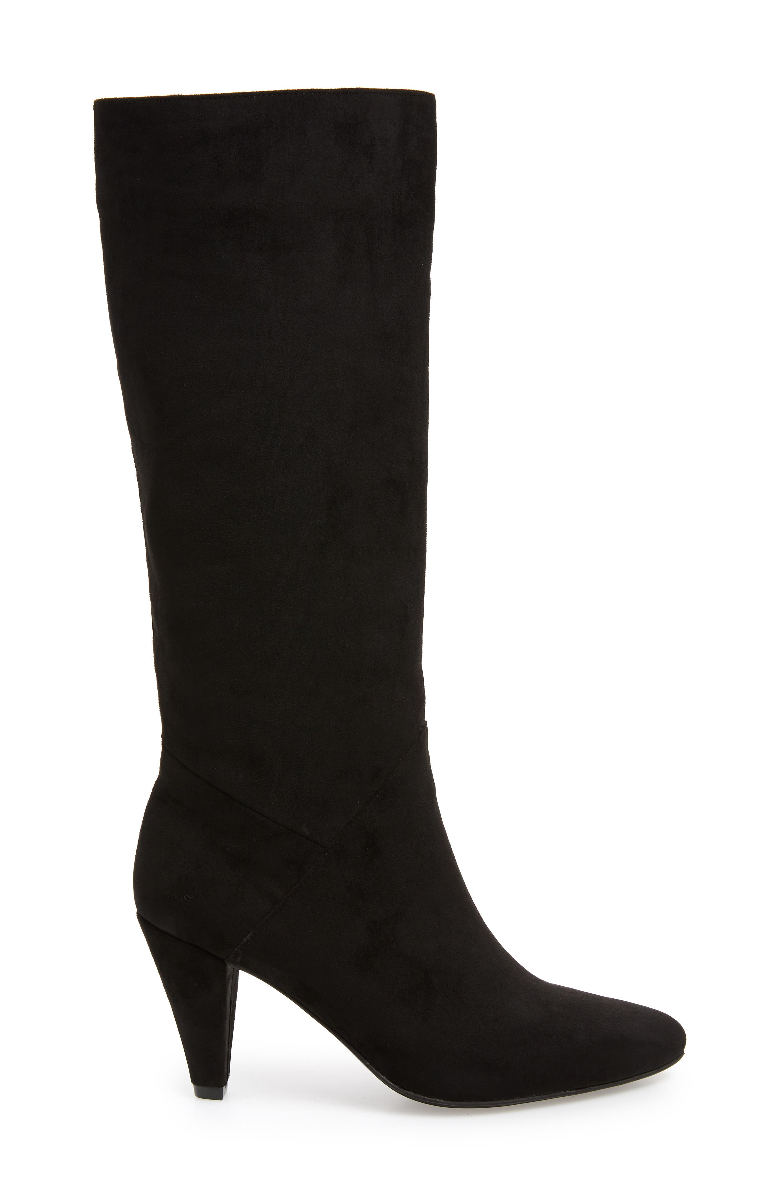 Jeffery Campbell Candle Knee High Boot,                             Alternate thumbnail 3, color,                             BLACK FAUX SUEDE