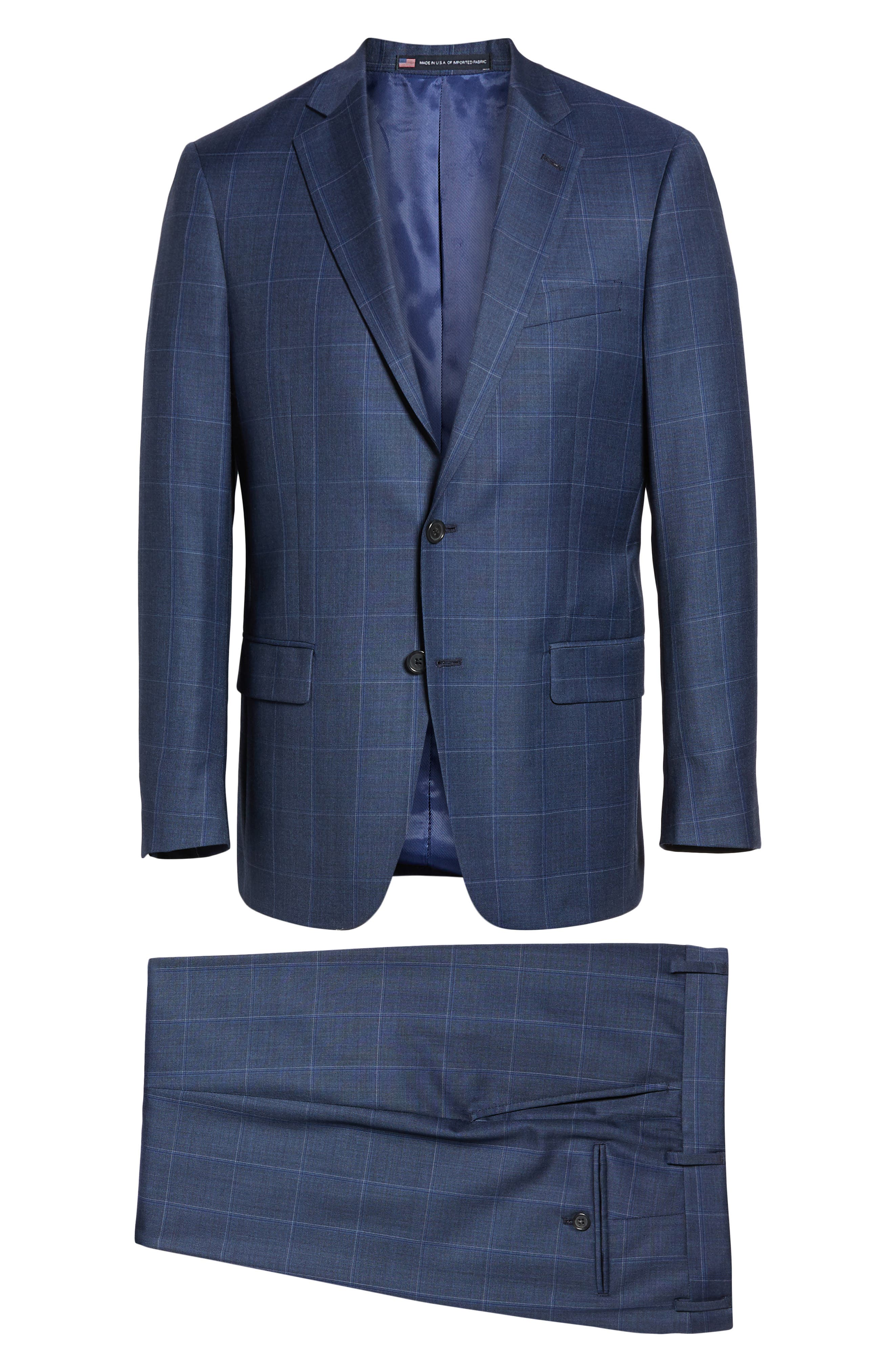 New York Classic Fit Windowpane Wool Suit,                             Alternate thumbnail 8, color,                             420