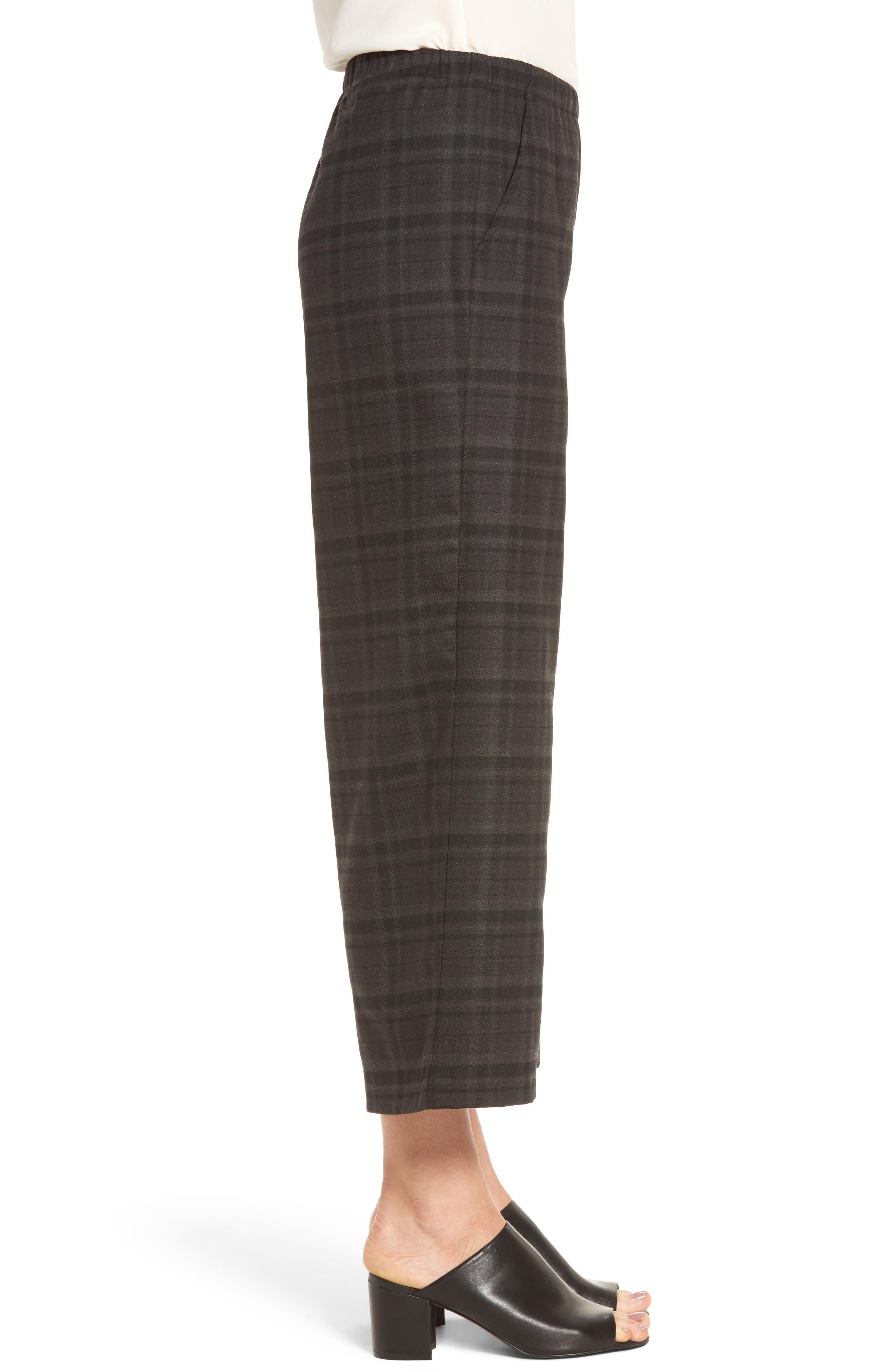 Wide Leg Plaid Crop Pants,                             Alternate thumbnail 3, color,                             021