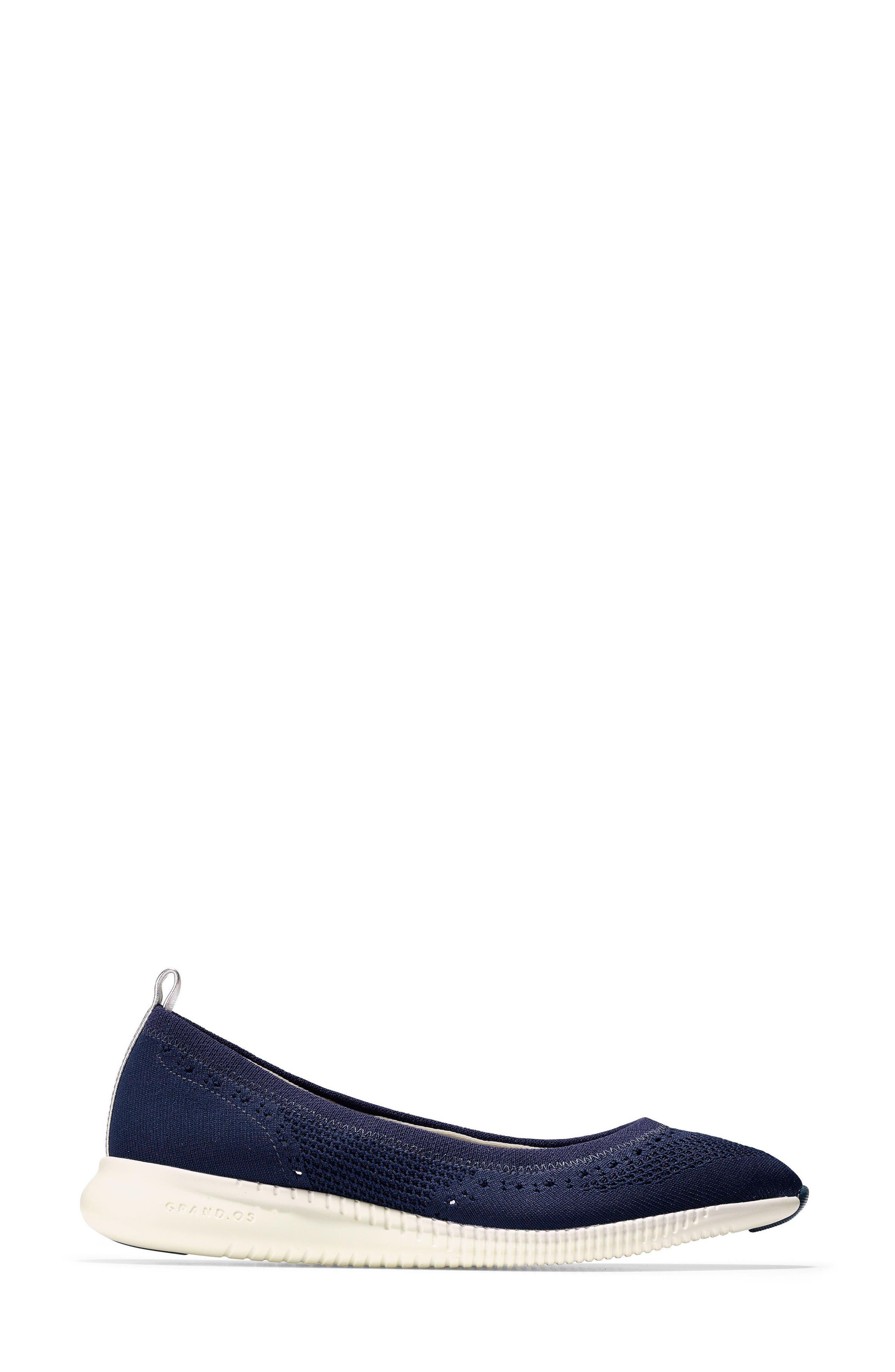 2.ZERØGRAND Stitchlite Ballet Flat,                             Alternate thumbnail 3, color,                             MARINE BLUE KNIT