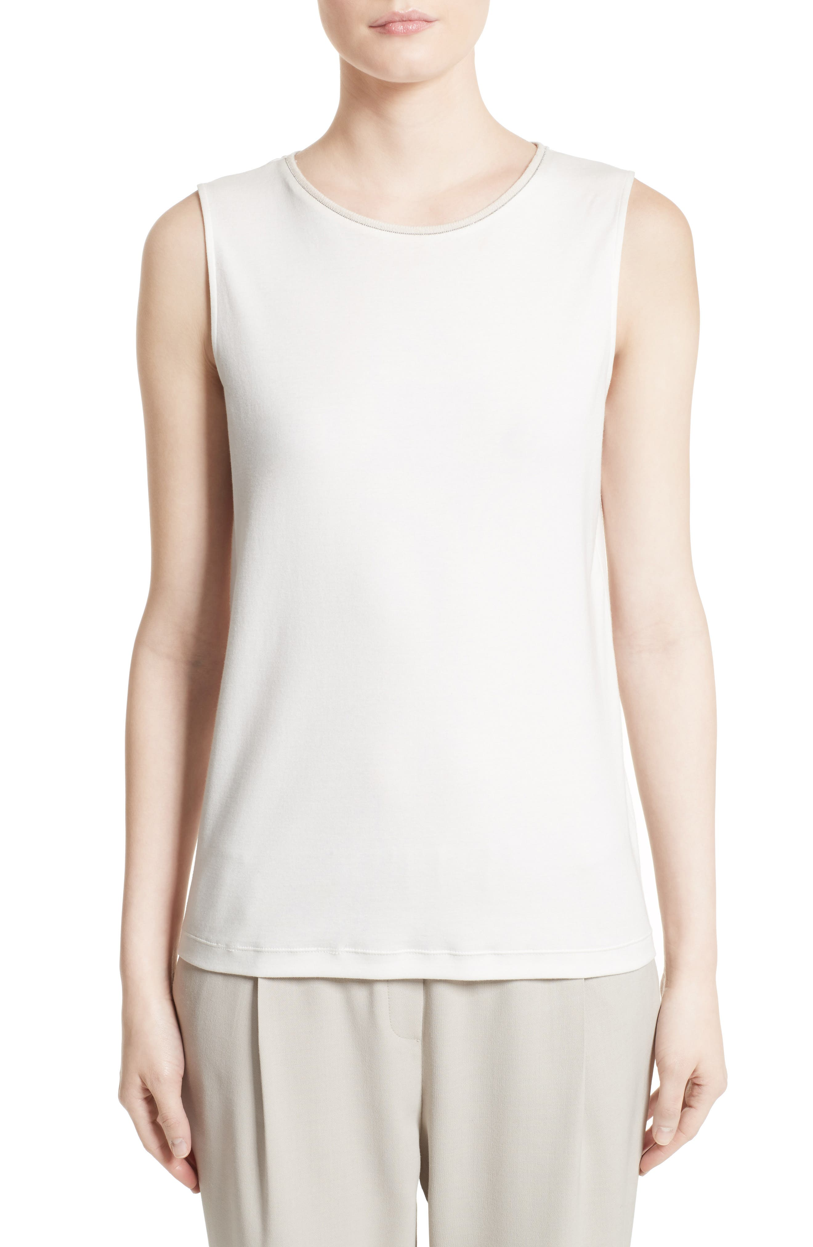 Beaded Stretch Cotton Tank,                         Main,                         color, 101
