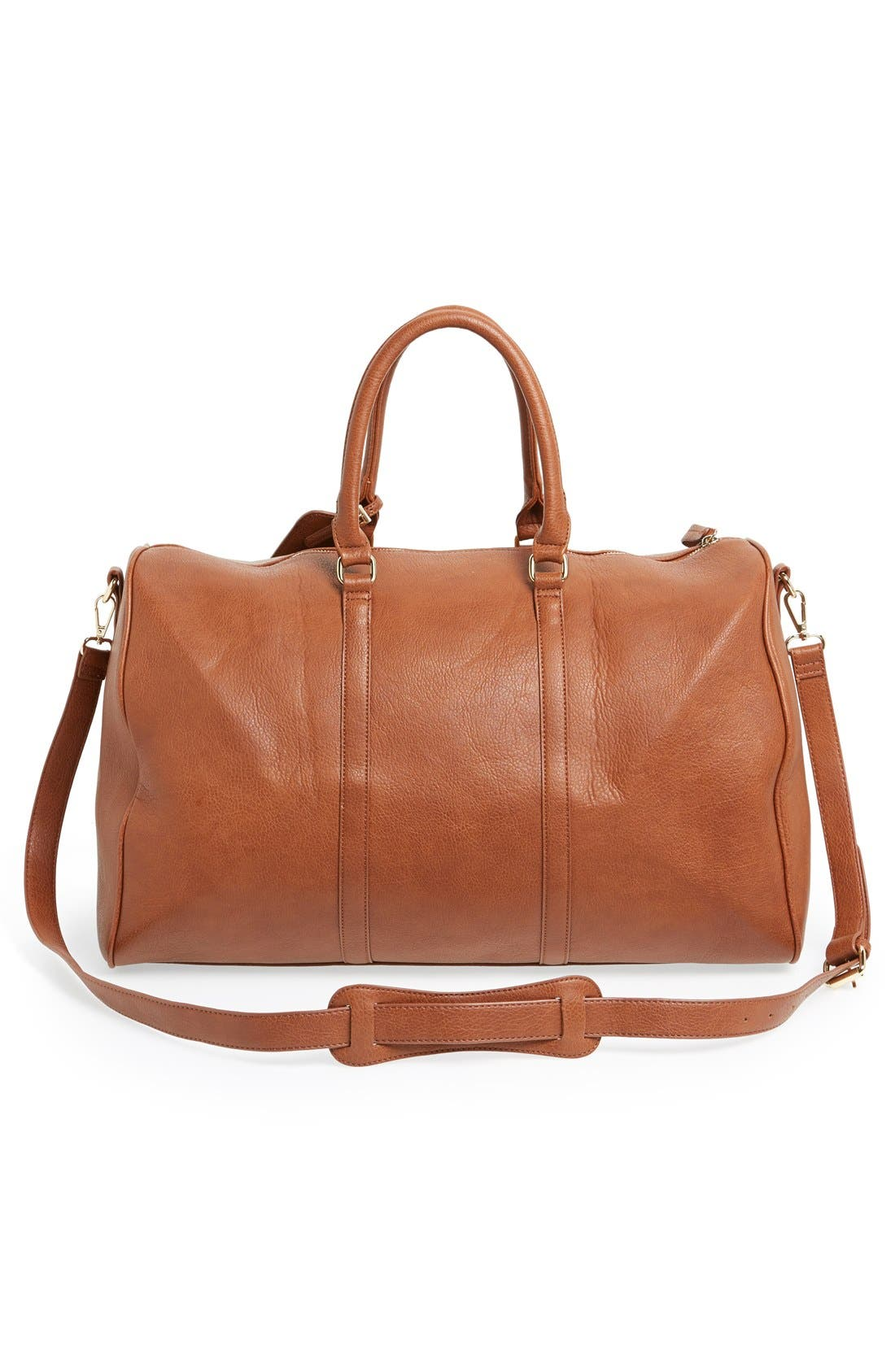 'Lacie' Faux Leather Duffel Bag,                             Alternate thumbnail 3, color,                             BROWN
