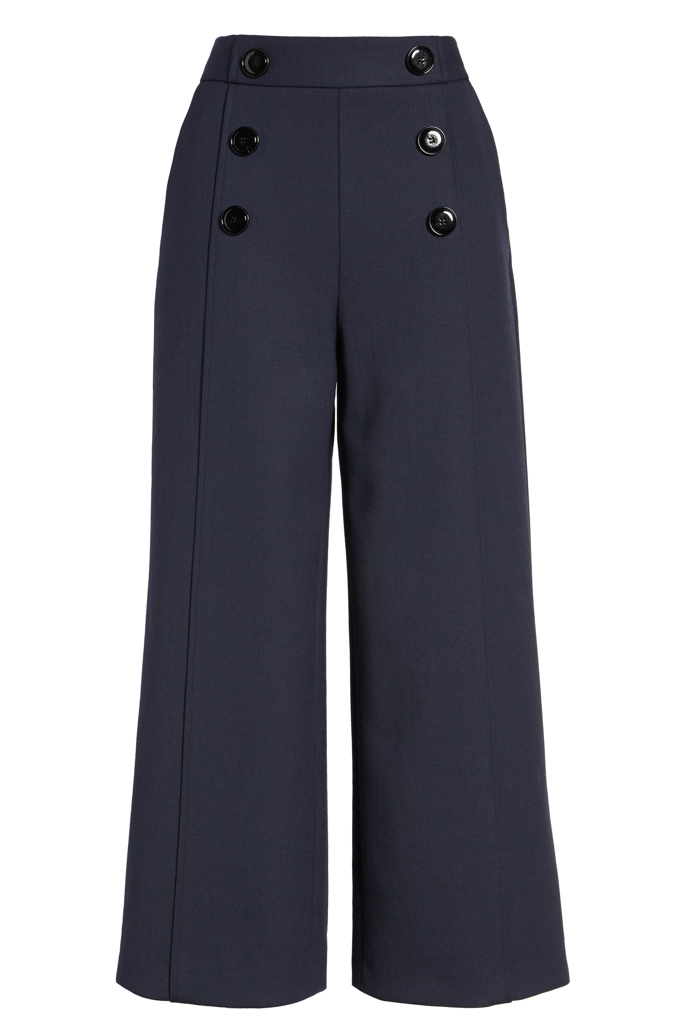 Button Detail Wide Leg Trouser,                             Alternate thumbnail 6, color,                             410
