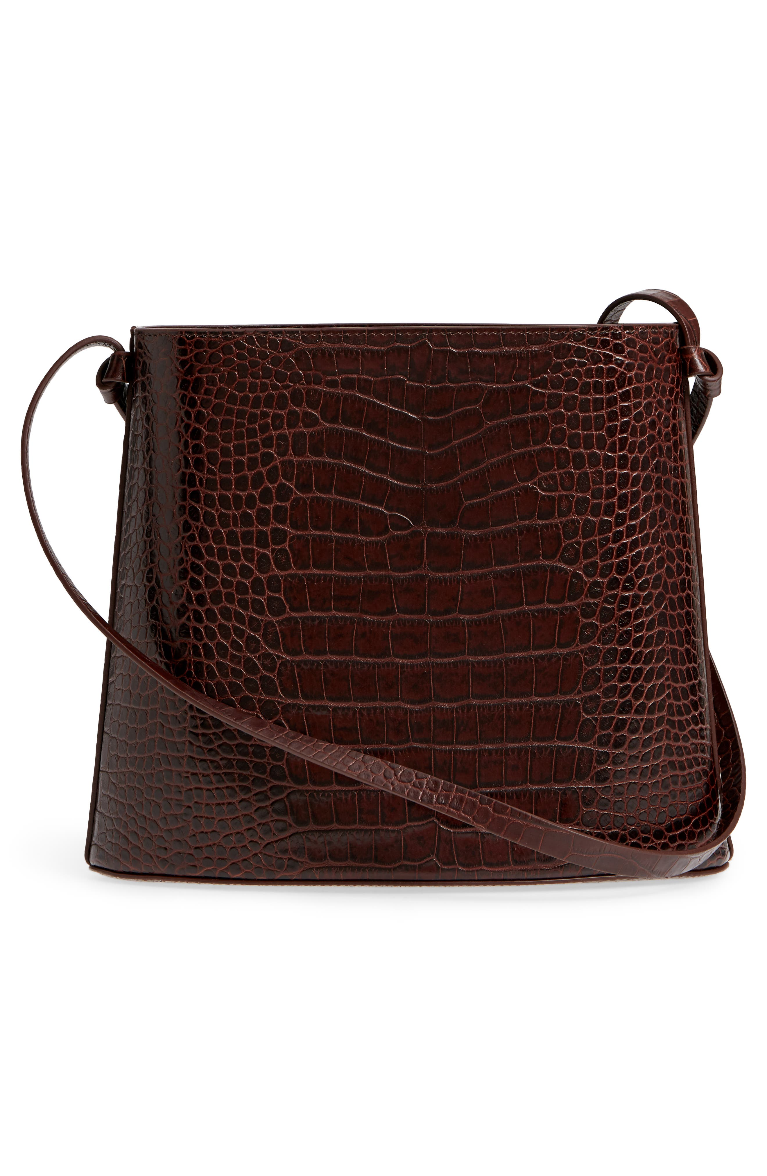 Sybil Croc Embossed Leather Tote,                             Alternate thumbnail 3, color,                             CHOCOLATE BROWN