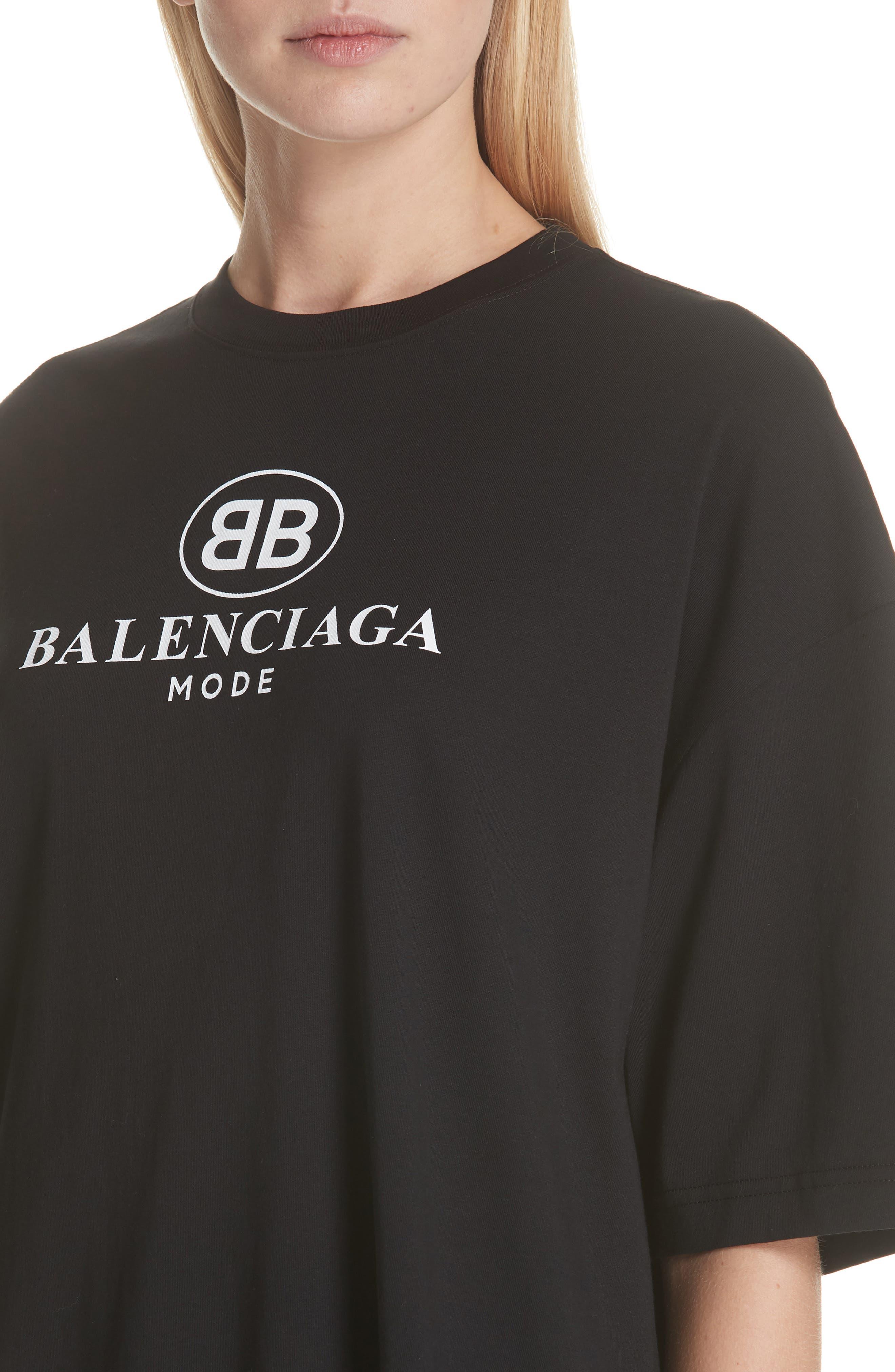 BB Logo Oversize Tee,                             Alternate thumbnail 4, color,                             001