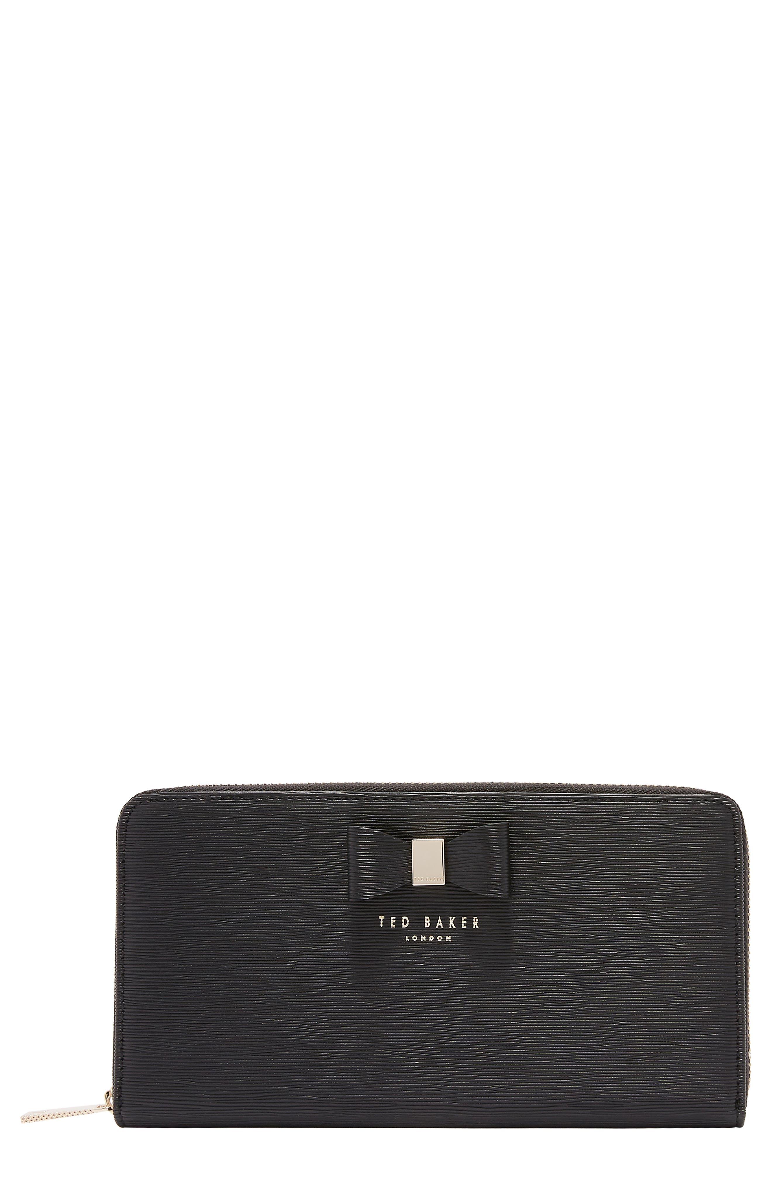 Peony Plissé Leather Matinee Wallet,                             Main thumbnail 1, color,                             001