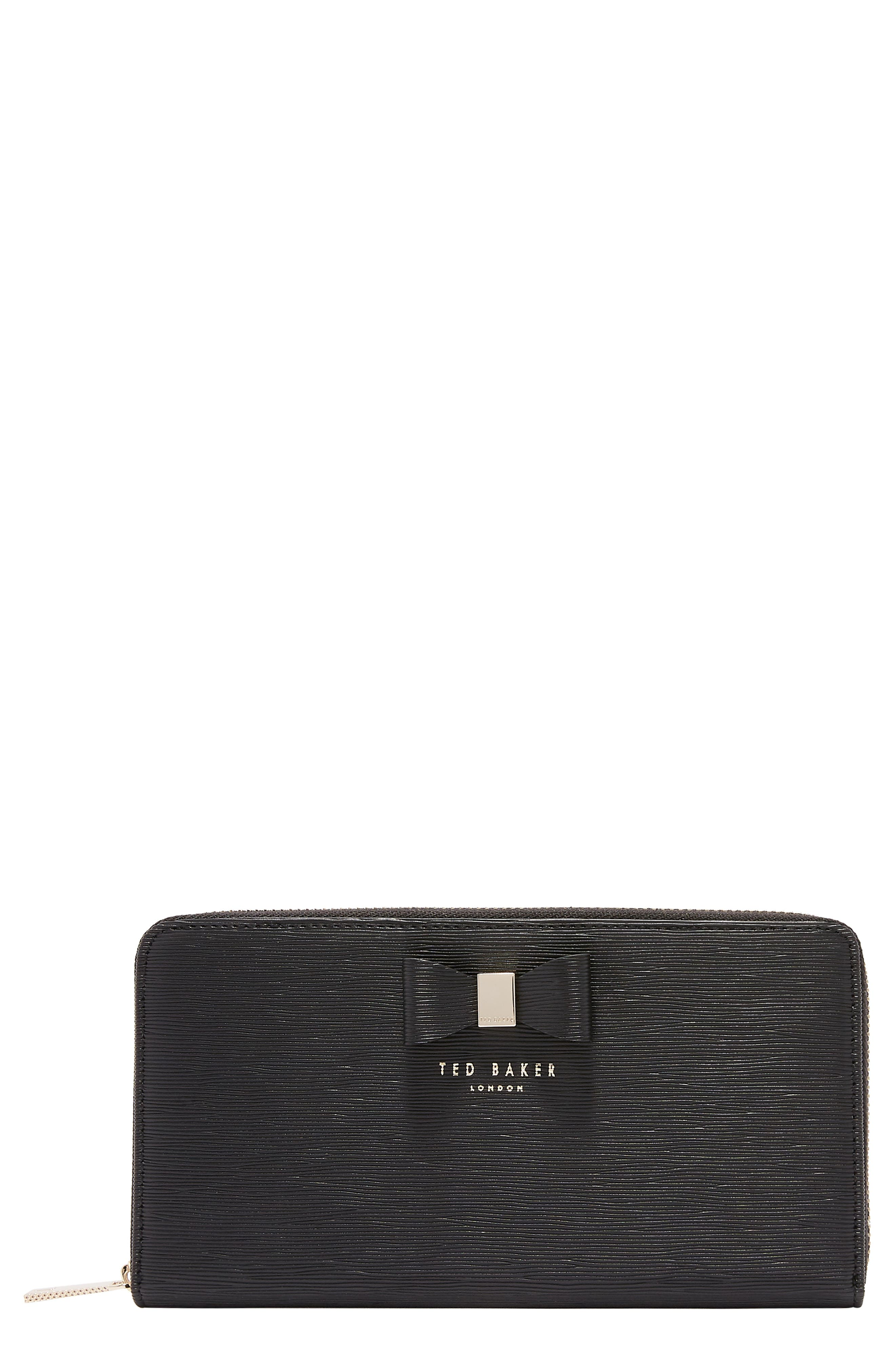 Peony Plissé Leather Matinee Wallet,                         Main,                         color, 001