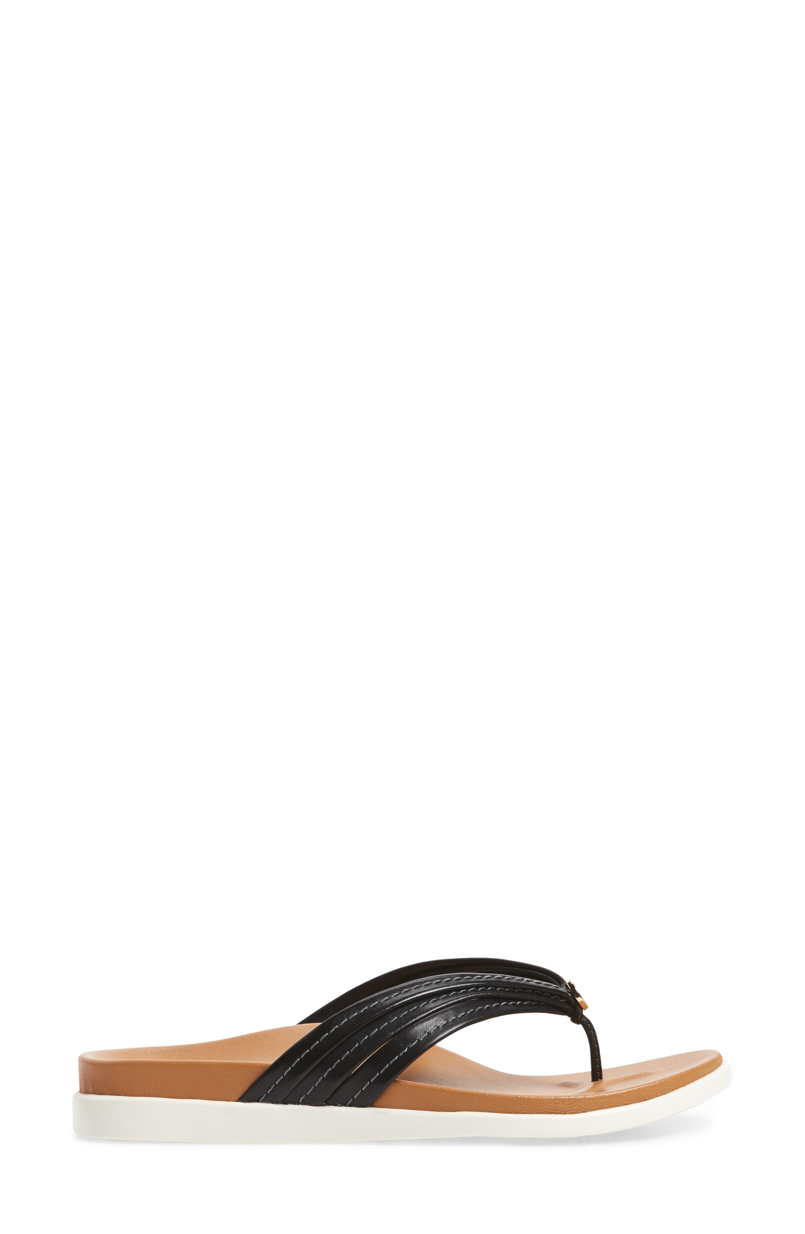 Catalina Flip Flop,                             Alternate thumbnail 3, color,                             BLACK LEATHER