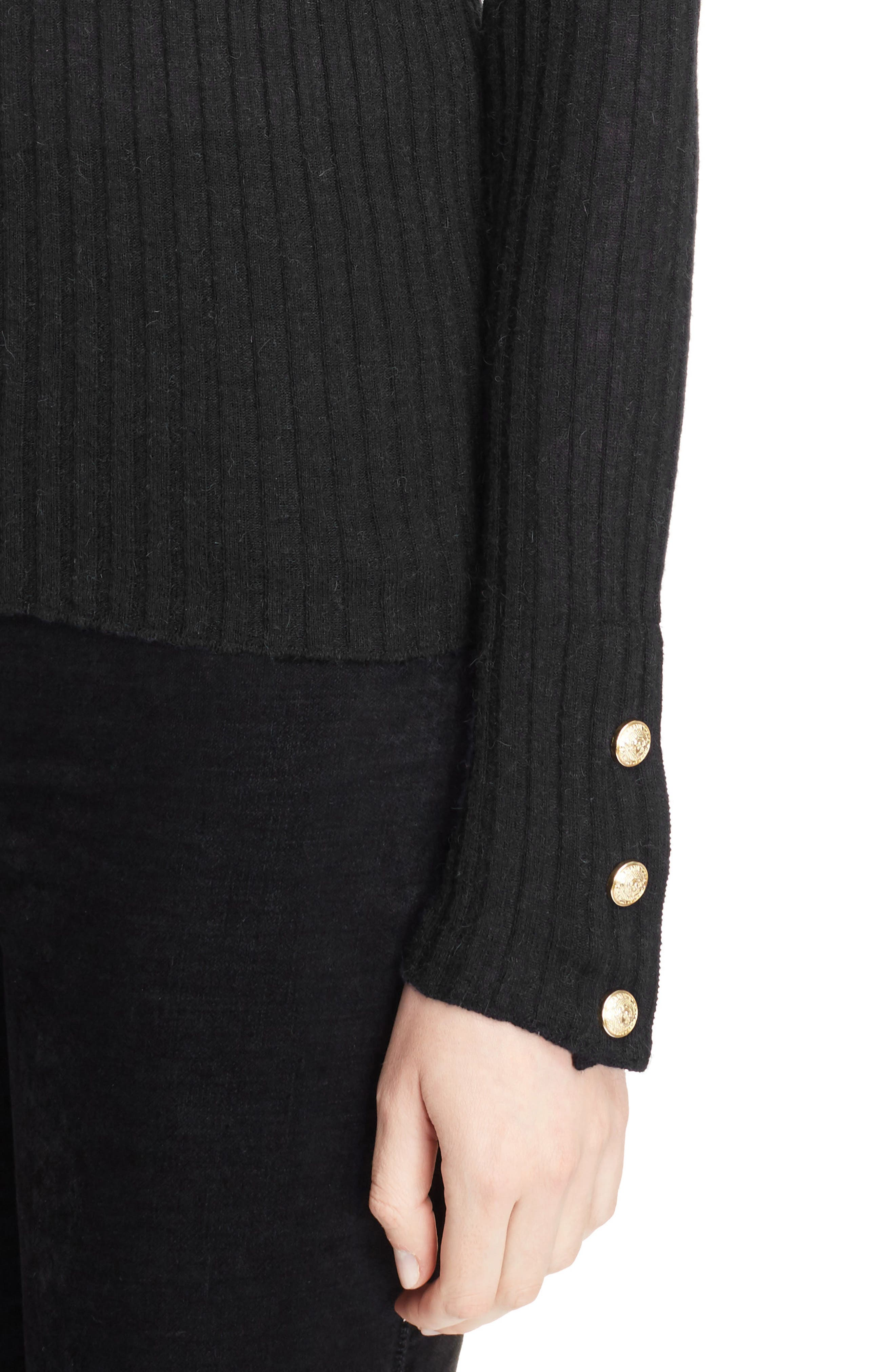 Button Detail Ribbed Sweater,                             Alternate thumbnail 4, color,                             BLACK