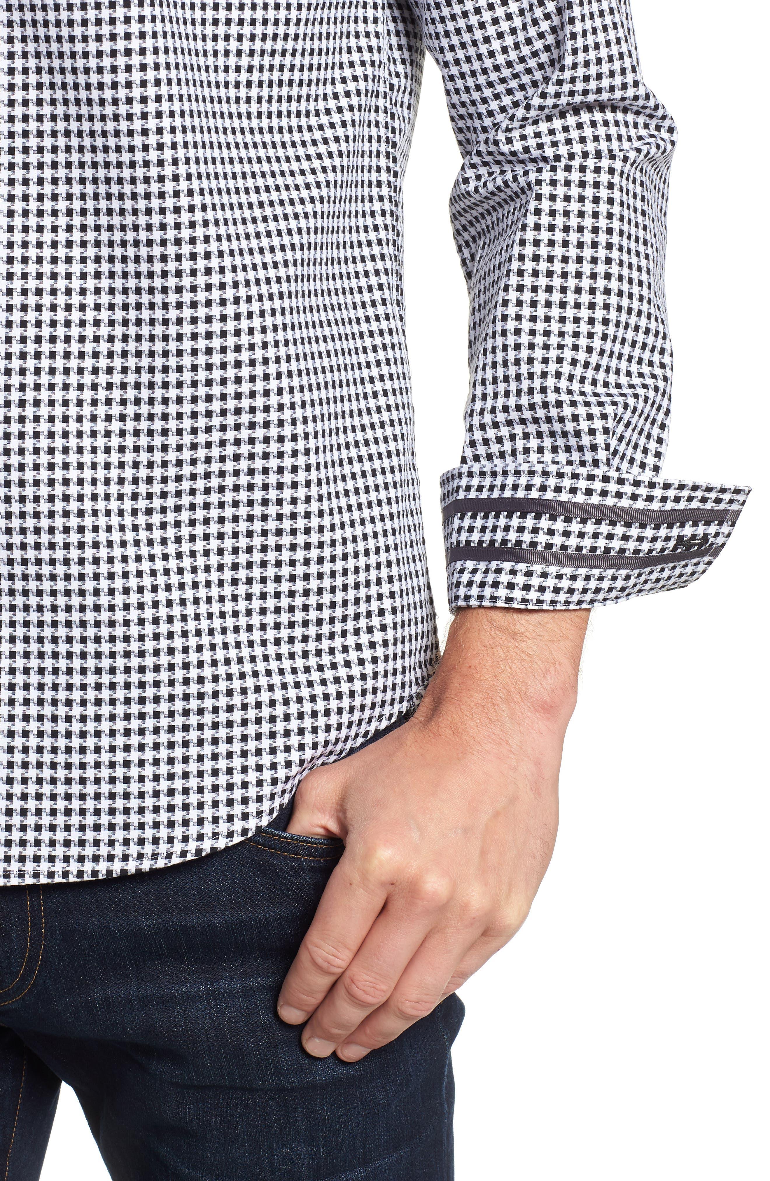 Emmett Tailored Fit Sport Shirt,                             Alternate thumbnail 2, color,                             BLACK