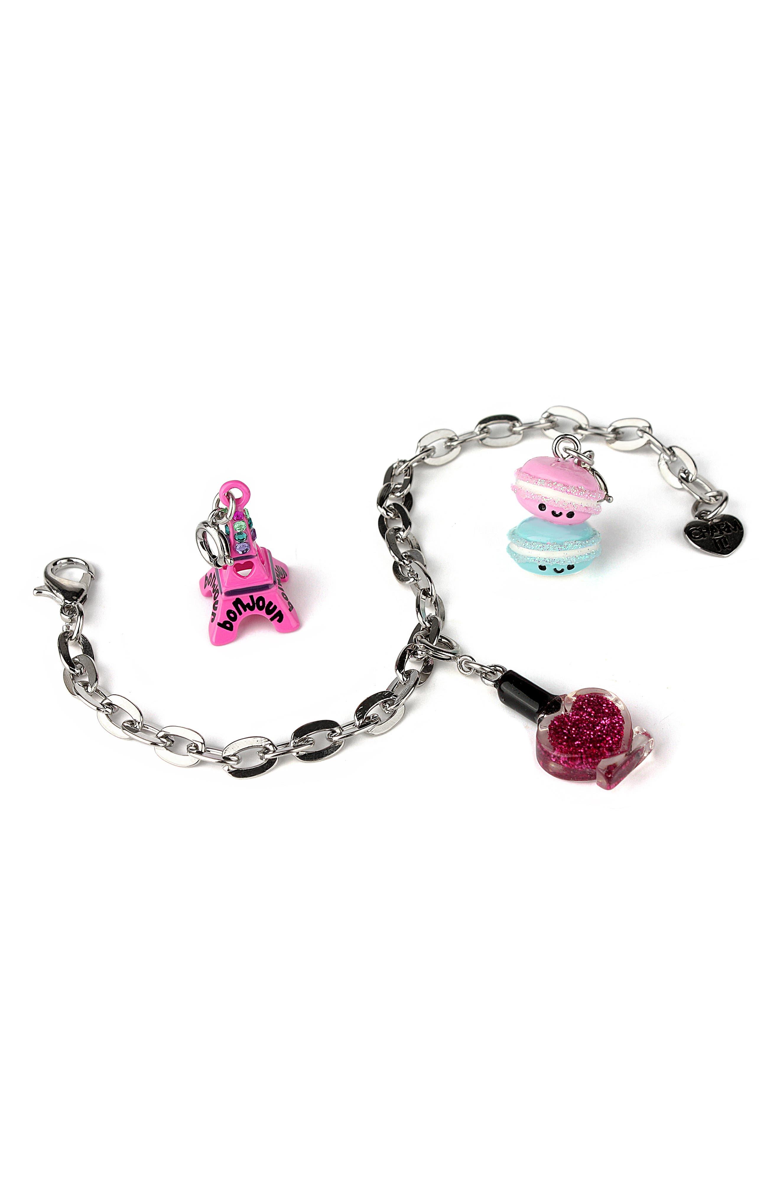 Parisian Charm Bracelet Gift Set,                             Alternate thumbnail 2, color,                             SILVER