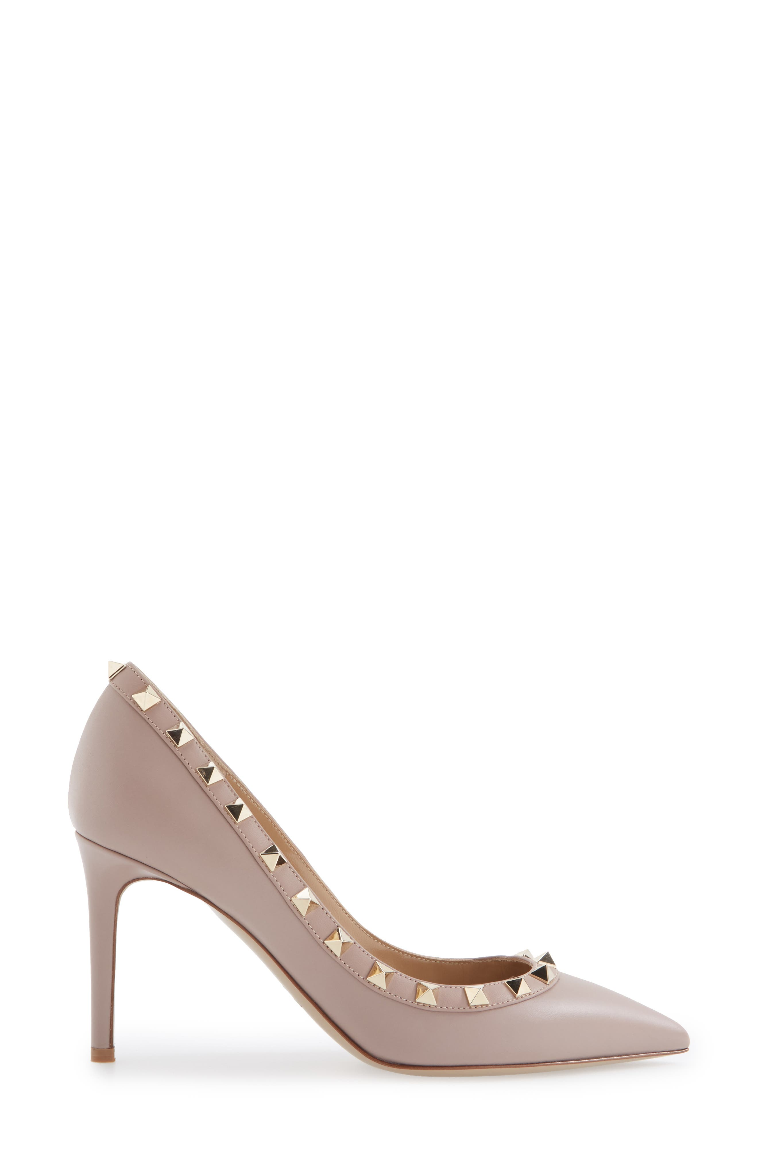Rockstud Pointy Toe Pump,                             Alternate thumbnail 5, color,                             POUDRE LEATHER