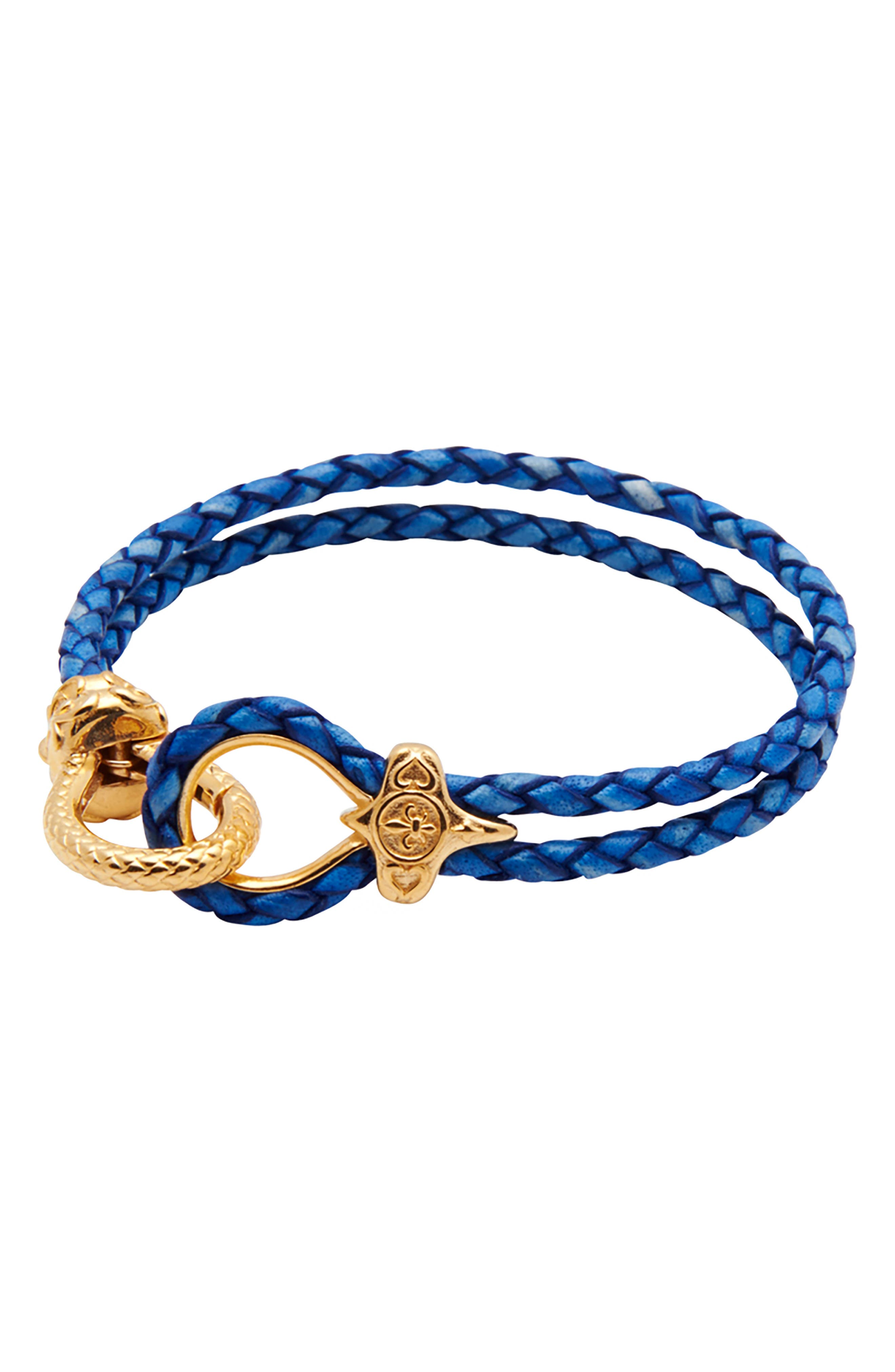 NIALAYA Braided Leather Bracelet in Gold/ Blue