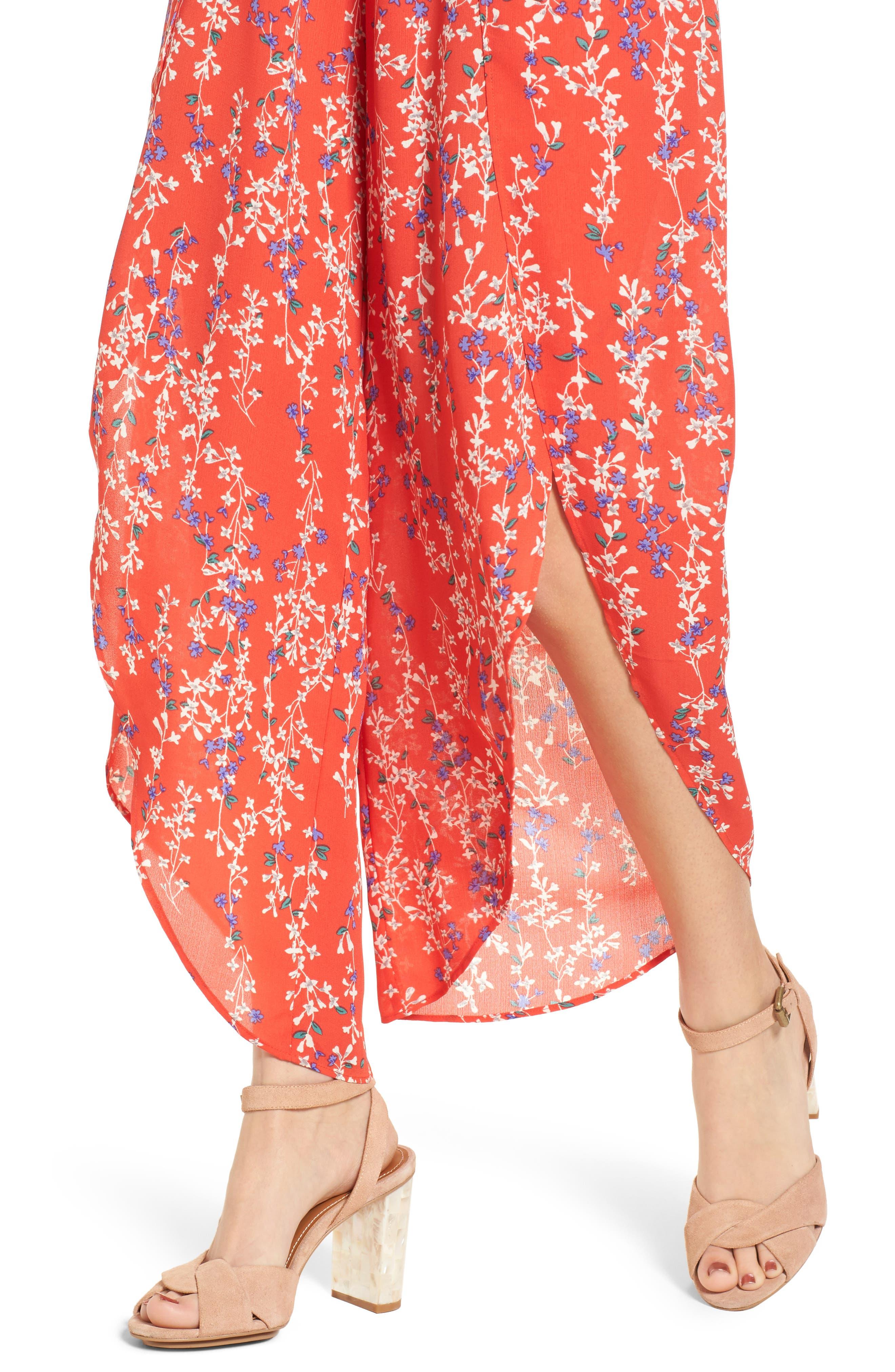 Floral Tie Front Split Hem Pants,                             Alternate thumbnail 4, color,                             601
