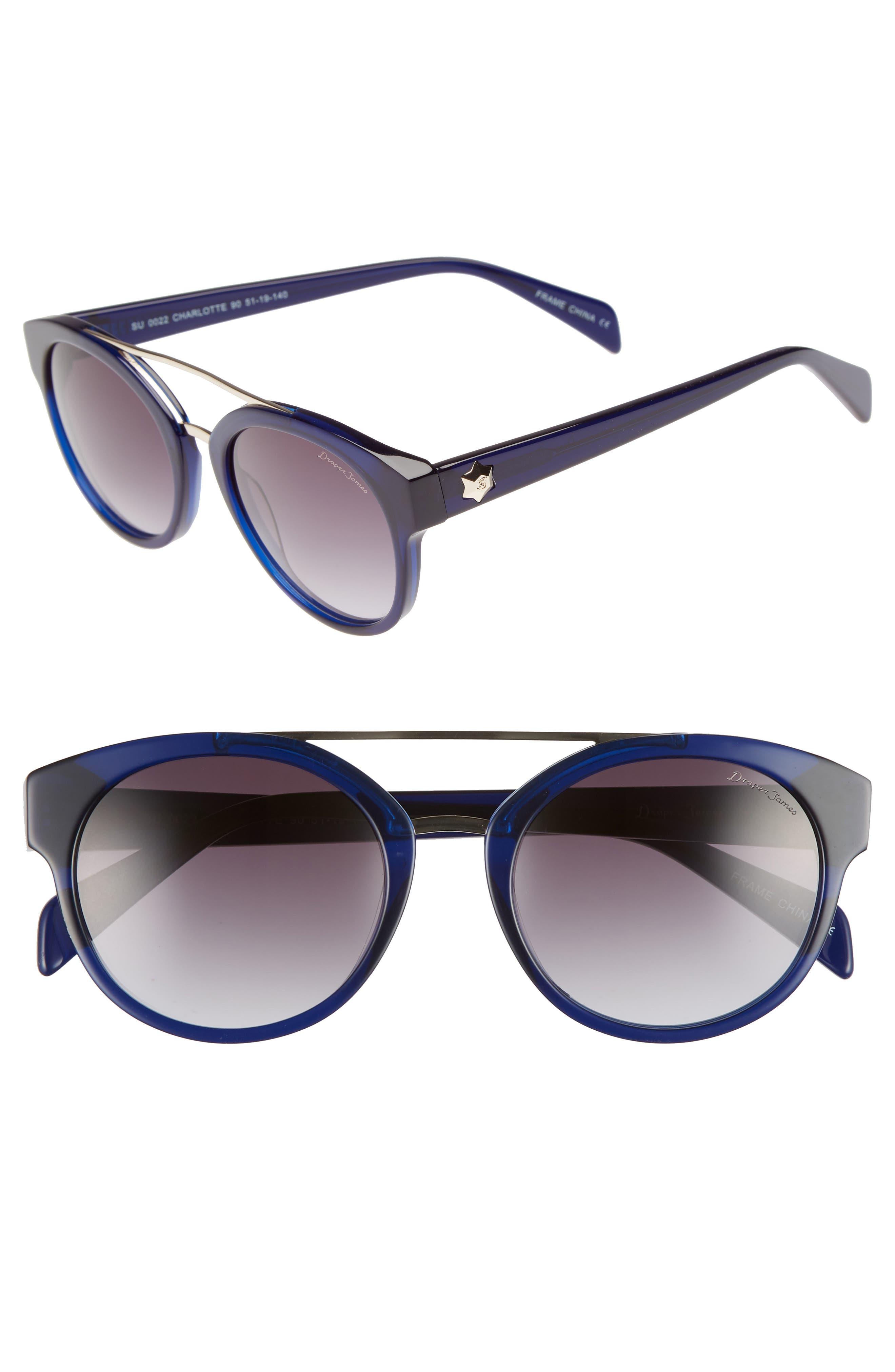 DRAPER JAMES 51Mm Round Sunglasses - Blue