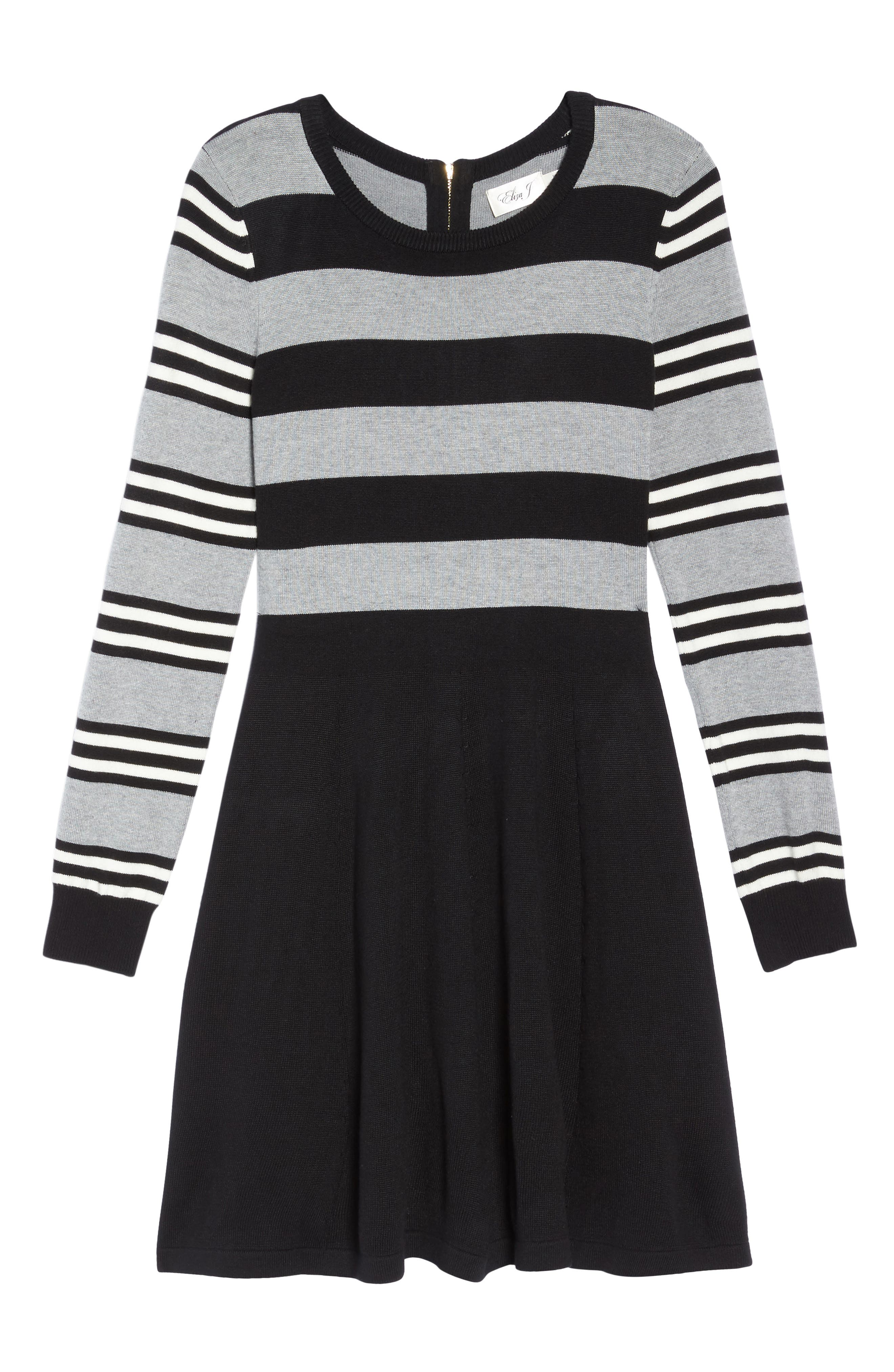 Fit & Flare Sweater Dress,                             Alternate thumbnail 7, color,                             003