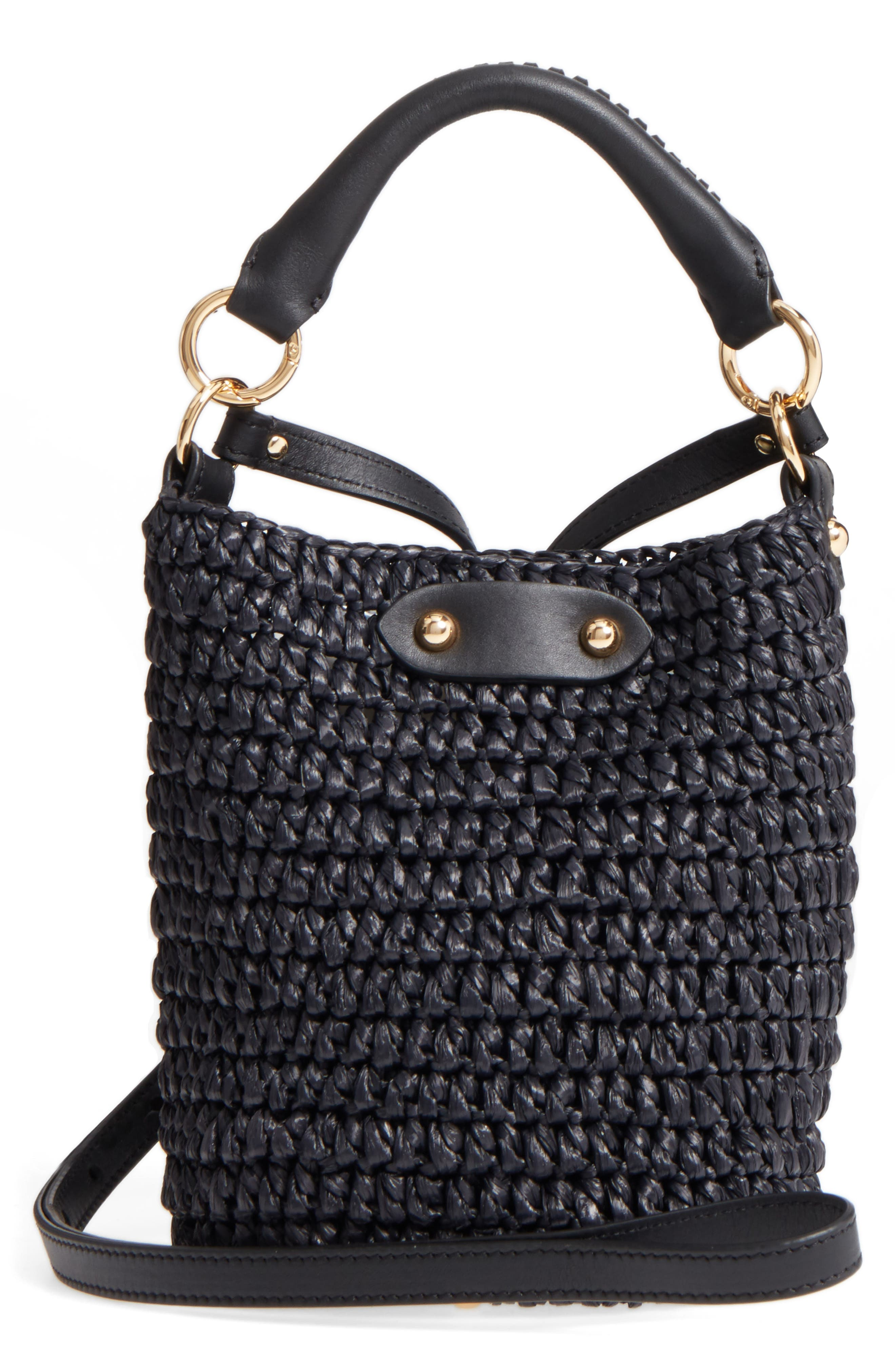 Mini Raffia Bucket Bag,                             Main thumbnail 1, color,