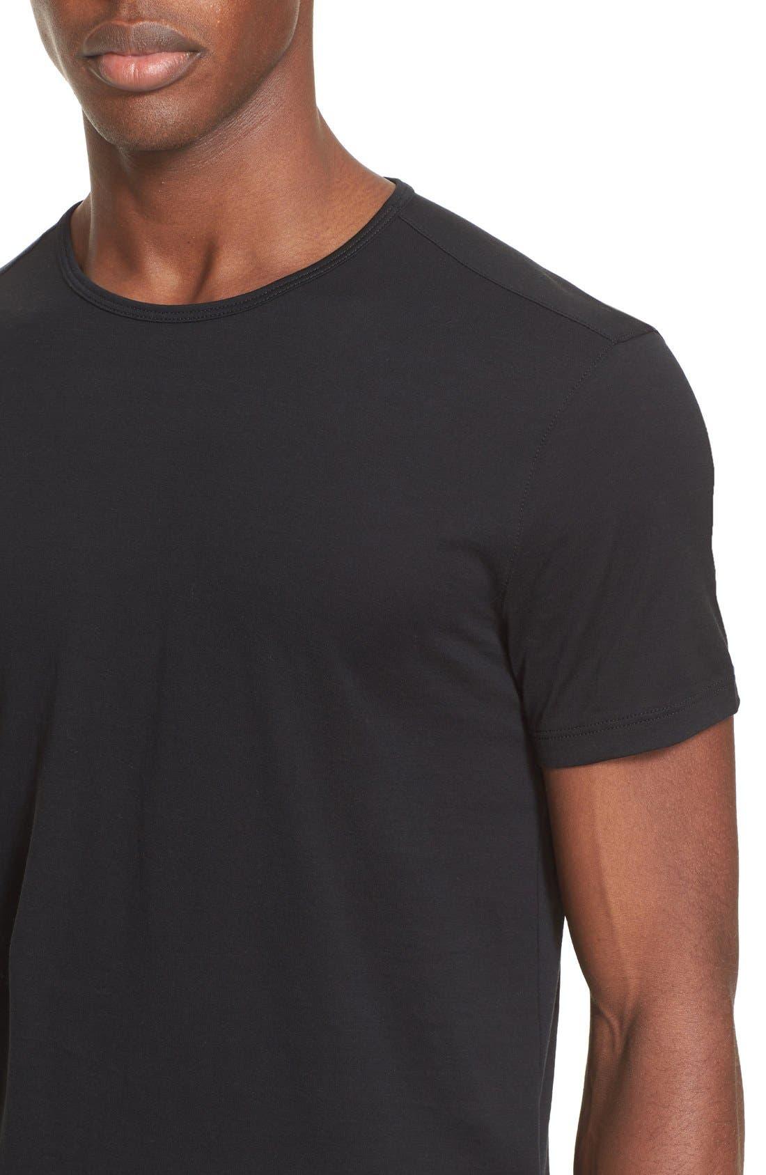 Pima Cotton T-Shirt,                             Alternate thumbnail 5, color,                             BLACK