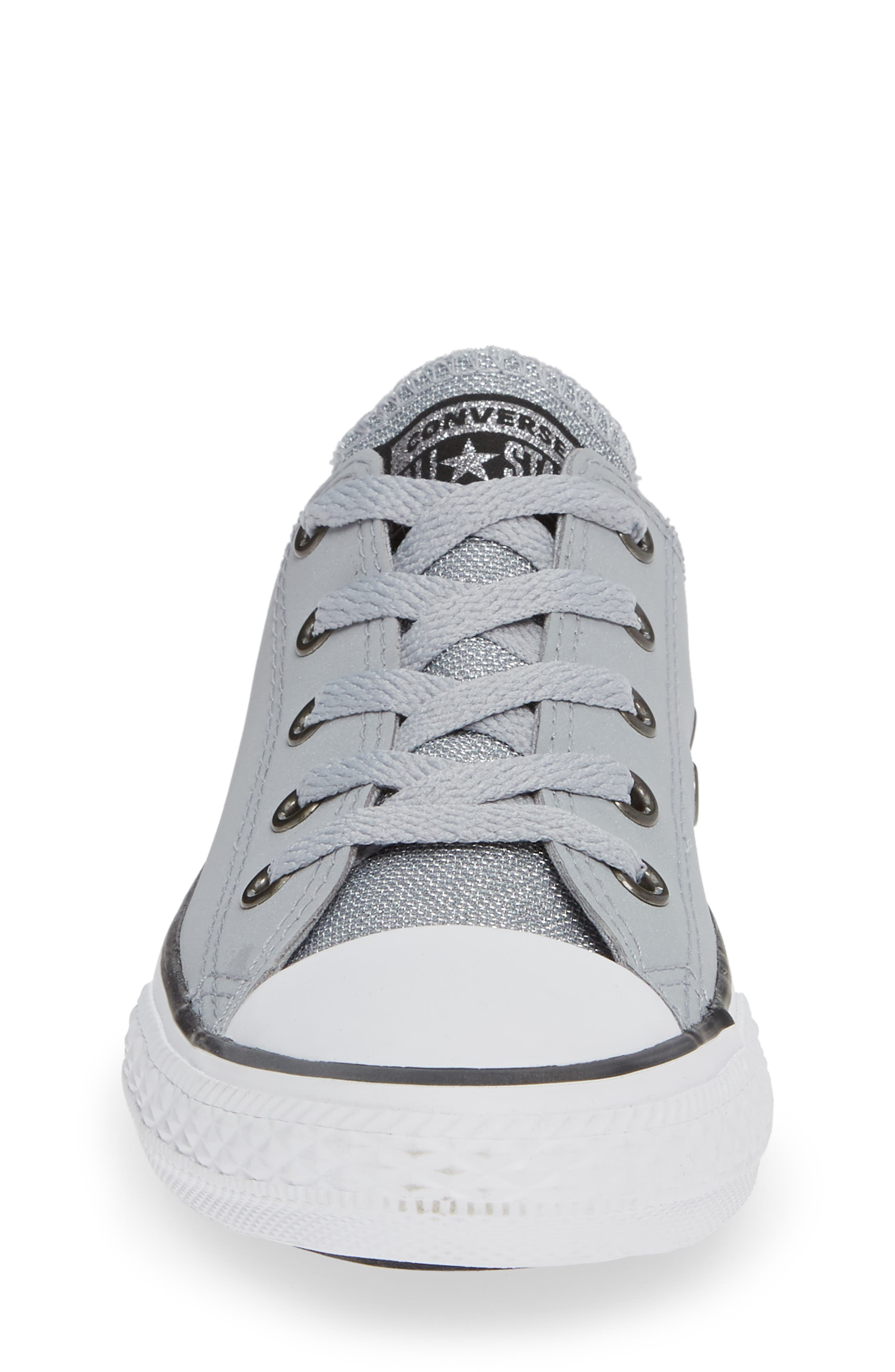 All Star<sup>®</sup> Metallic Low Top Sneaker,                             Alternate thumbnail 4, color,                             WOLF GREY