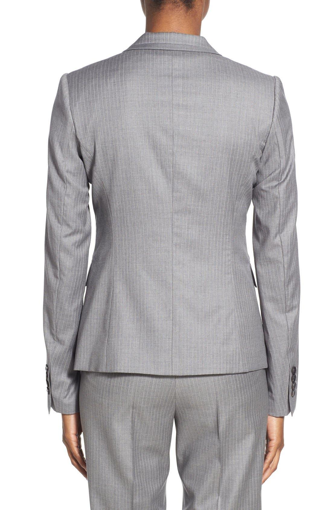 'Jelenna' Pinstripe One-Button Suit Jacket,                             Alternate thumbnail 5, color,                             060