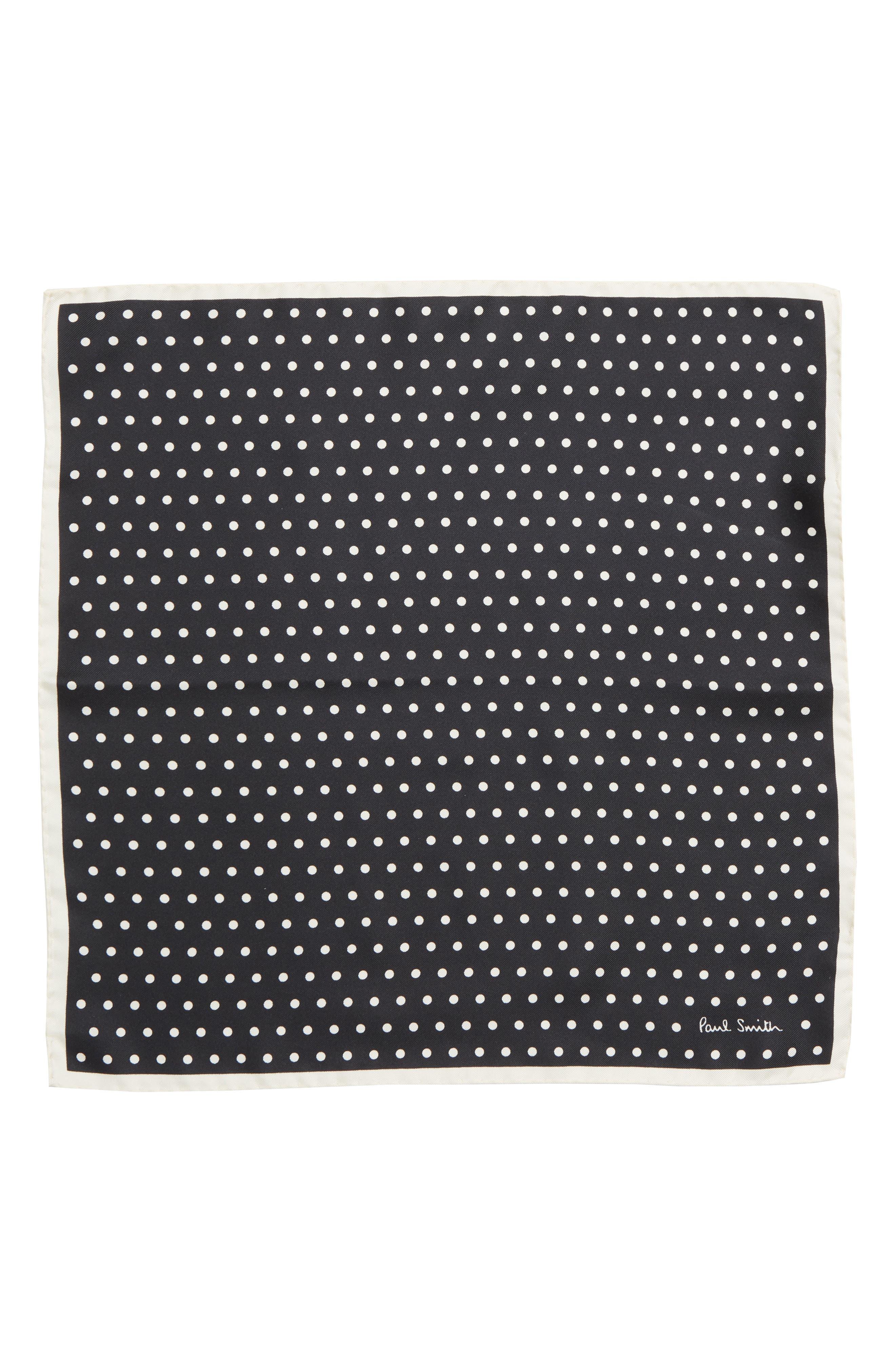Polka Dot Silk Pocket Square,                             Alternate thumbnail 2, color,                             BLACK