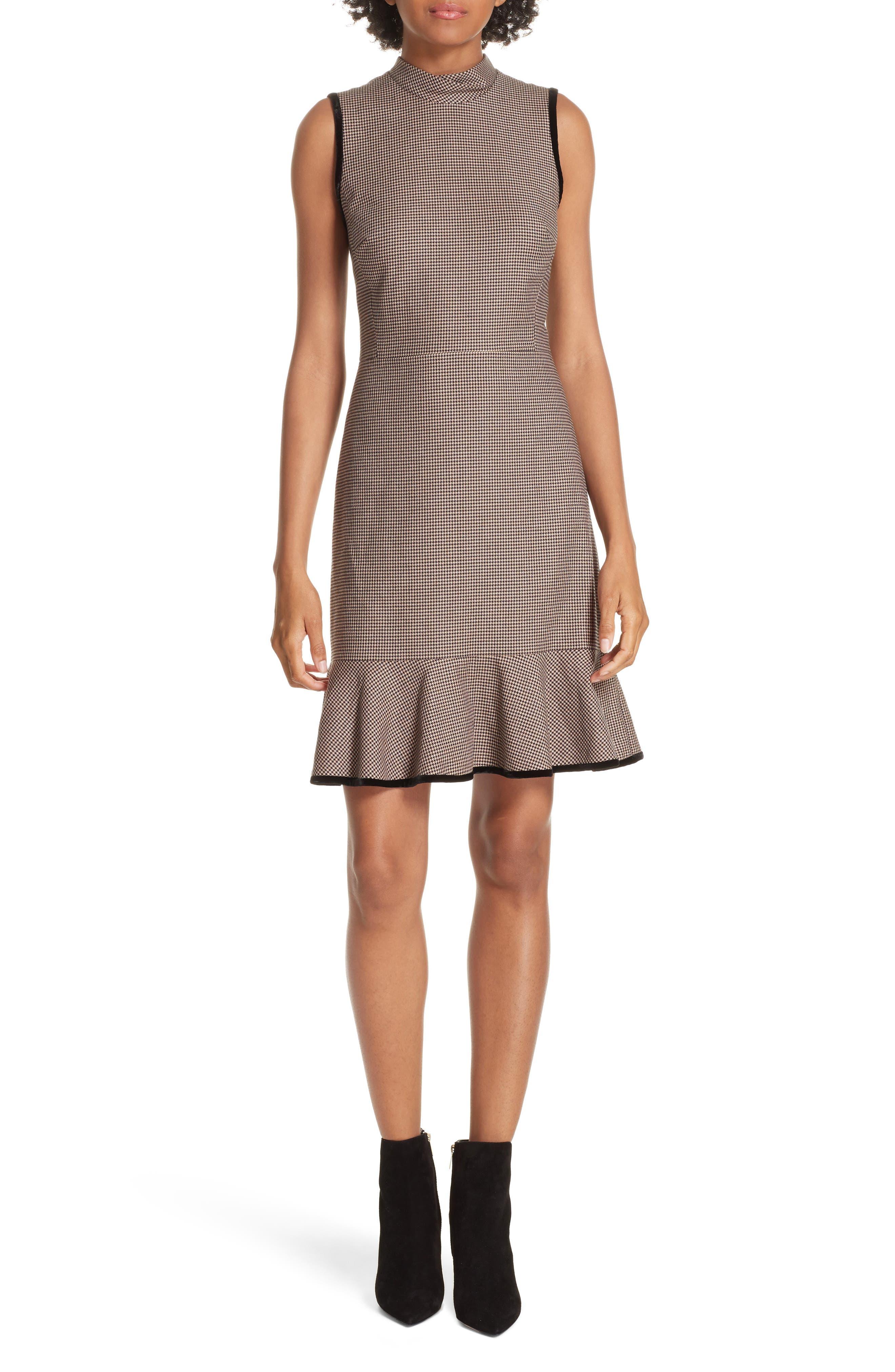 Houndstooth Sheath Dress,                             Main thumbnail 1, color,                             CAMEL/ BLACK