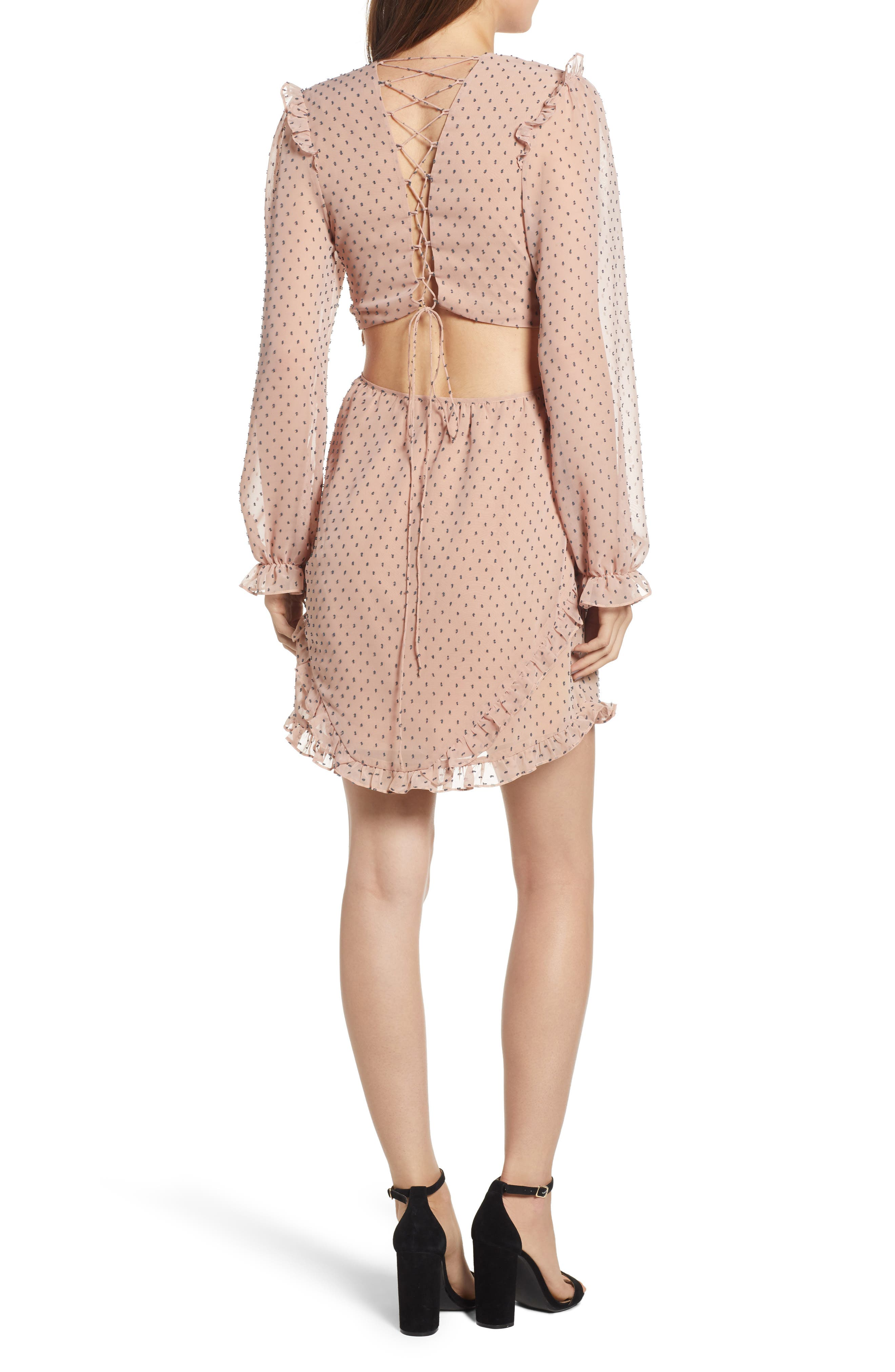 WAYF,                             Allegria Lace-Up Minidress,                             Alternate thumbnail 2, color,                             650