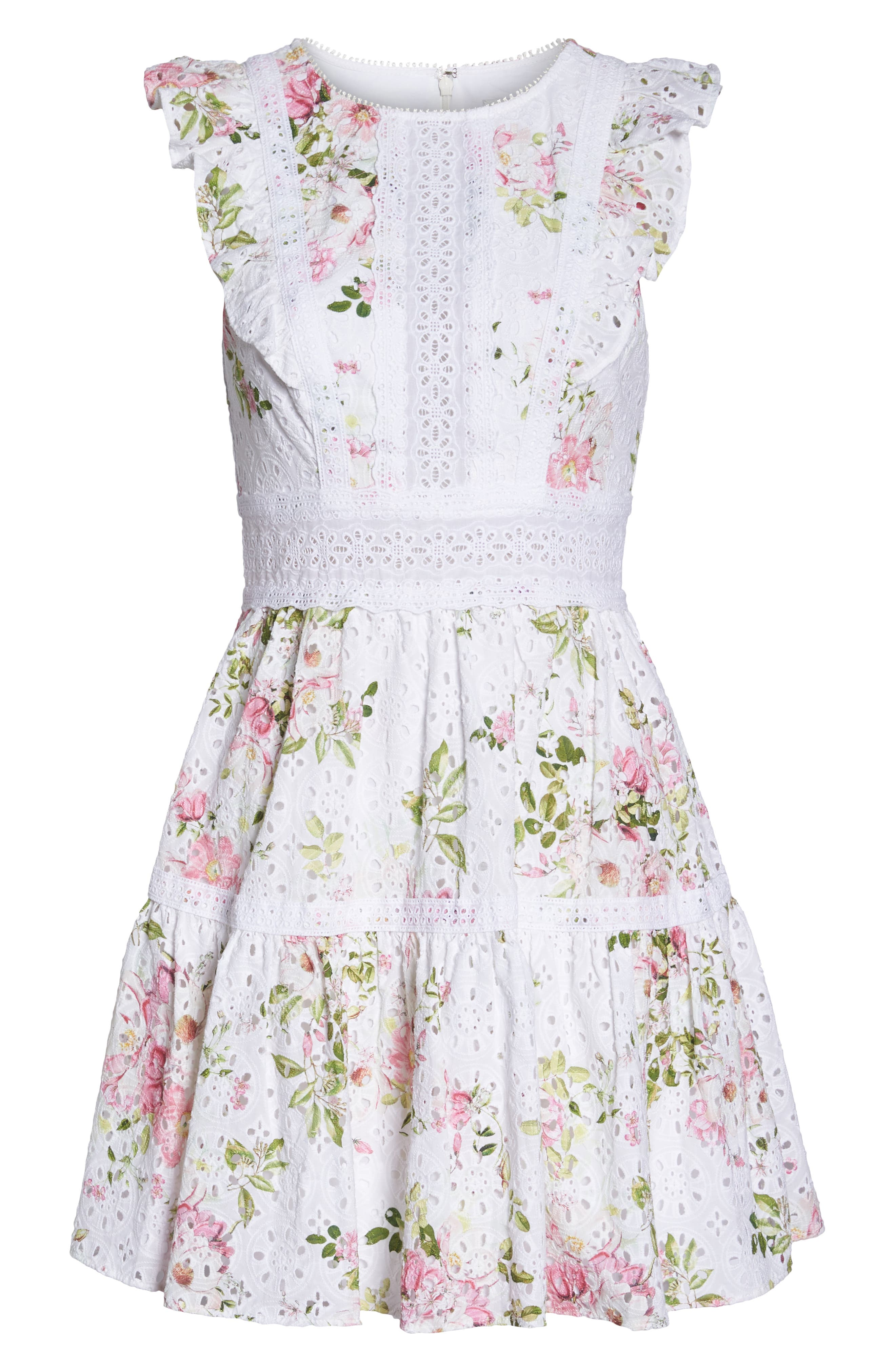 Print Broderie Anglaise Fit & Flare Dress,                             Alternate thumbnail 7, color,                             100