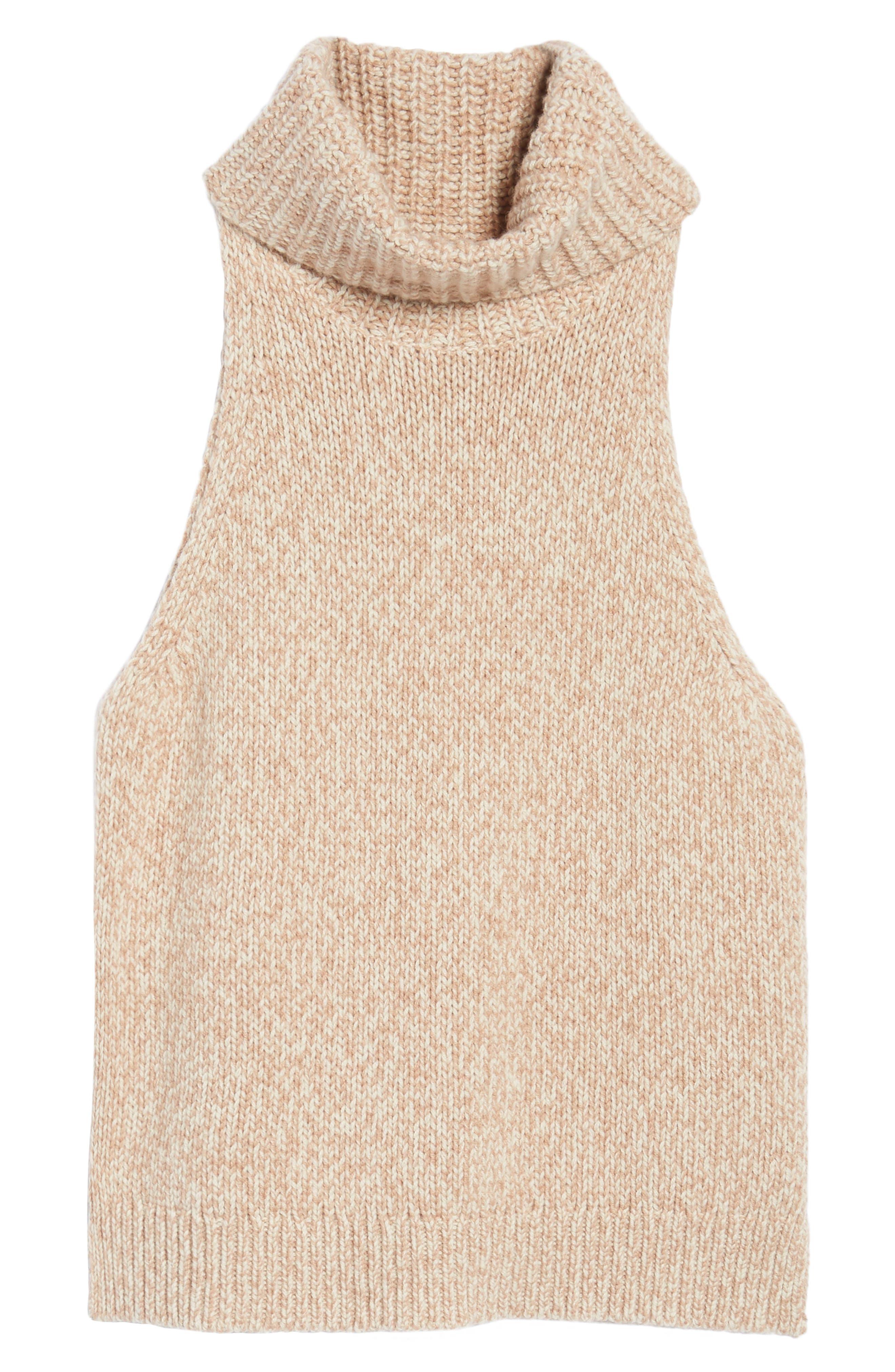 Marled Sleeveless Turtleneck Sweater,                             Alternate thumbnail 6, color,                             201