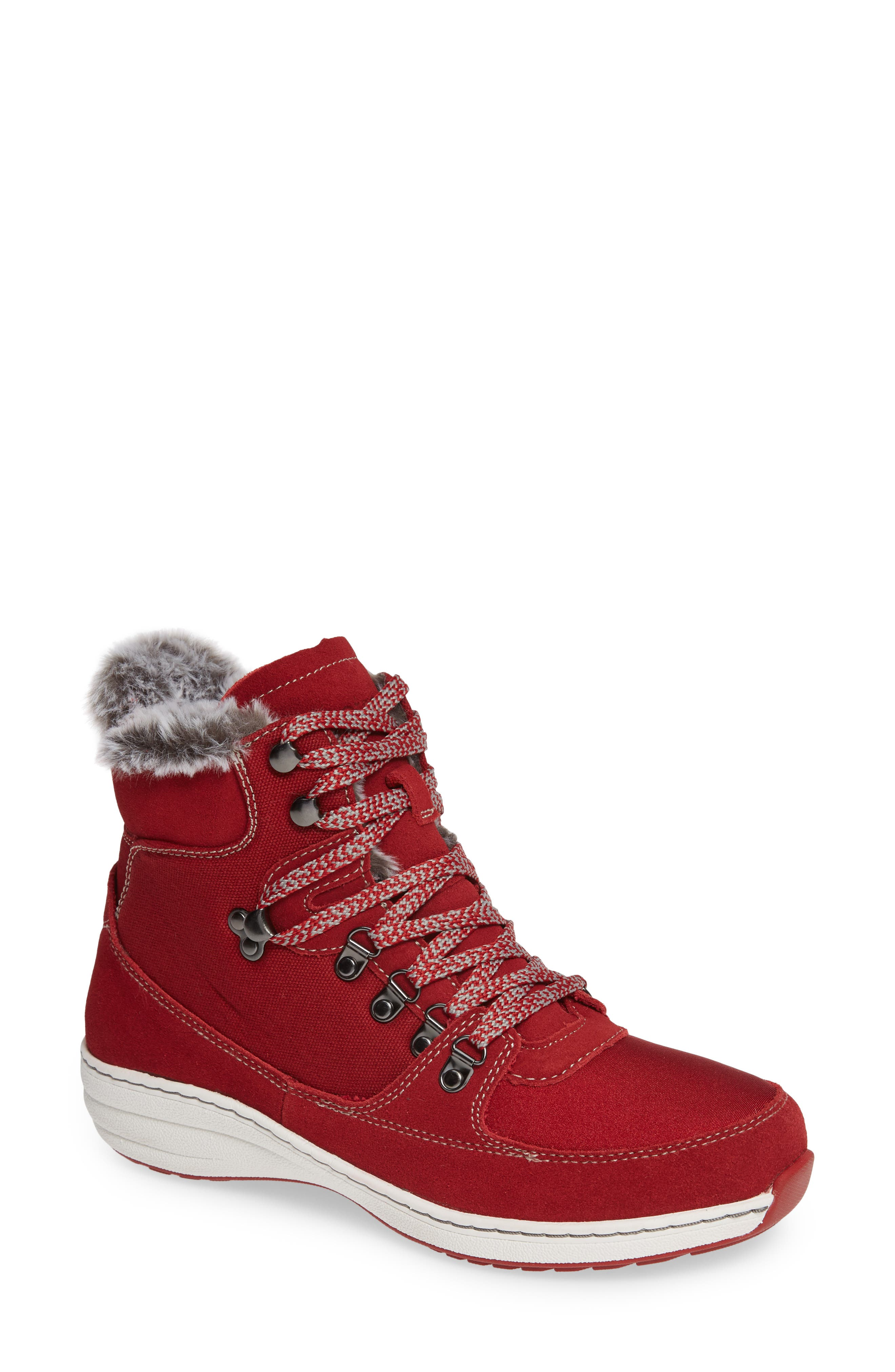 Aetrex Kelsey Faux Fur Lined Hiker Boot, Red