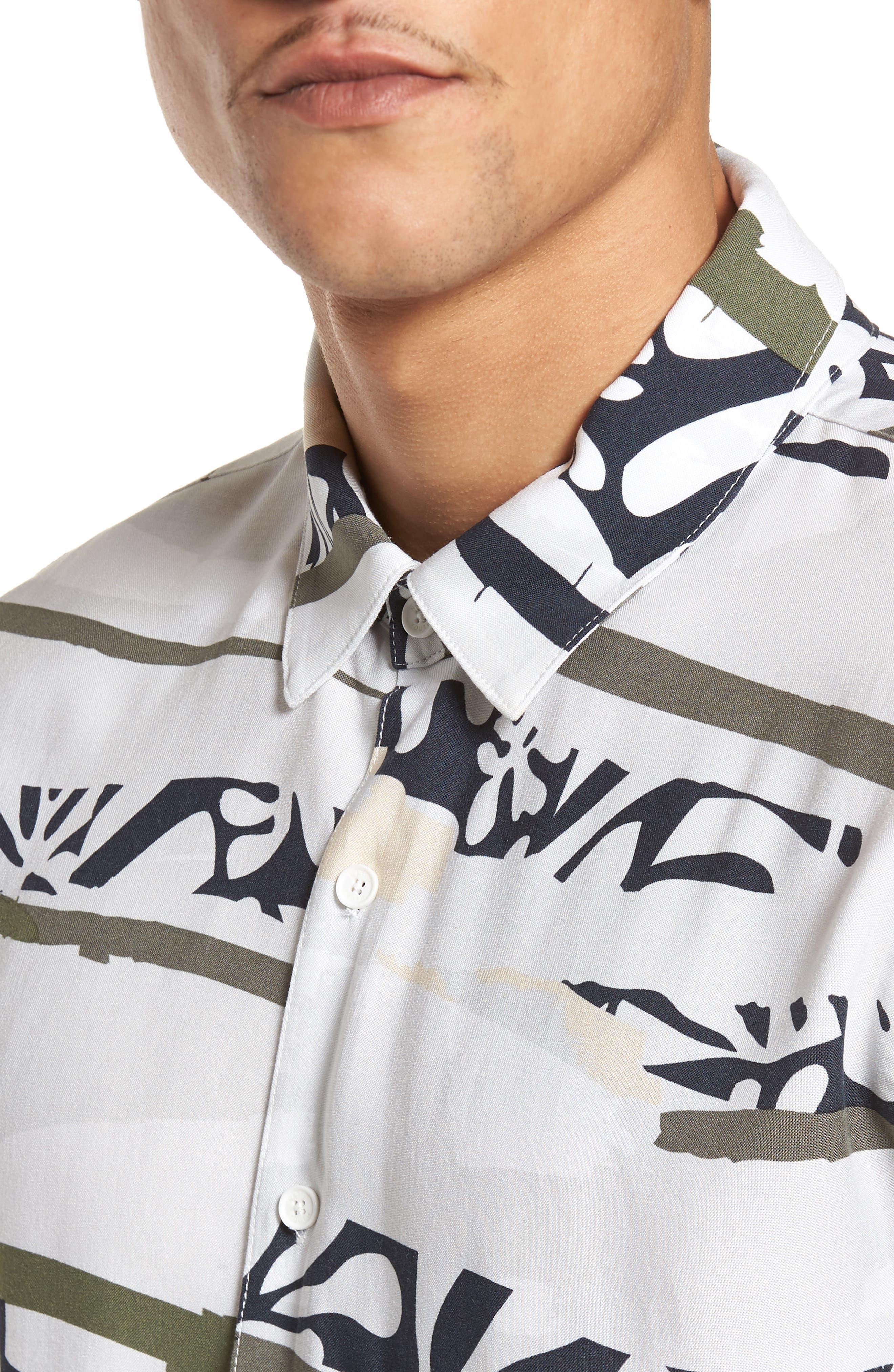 Tropi Camo Woven Shirt,                             Alternate thumbnail 4, color,                             100
