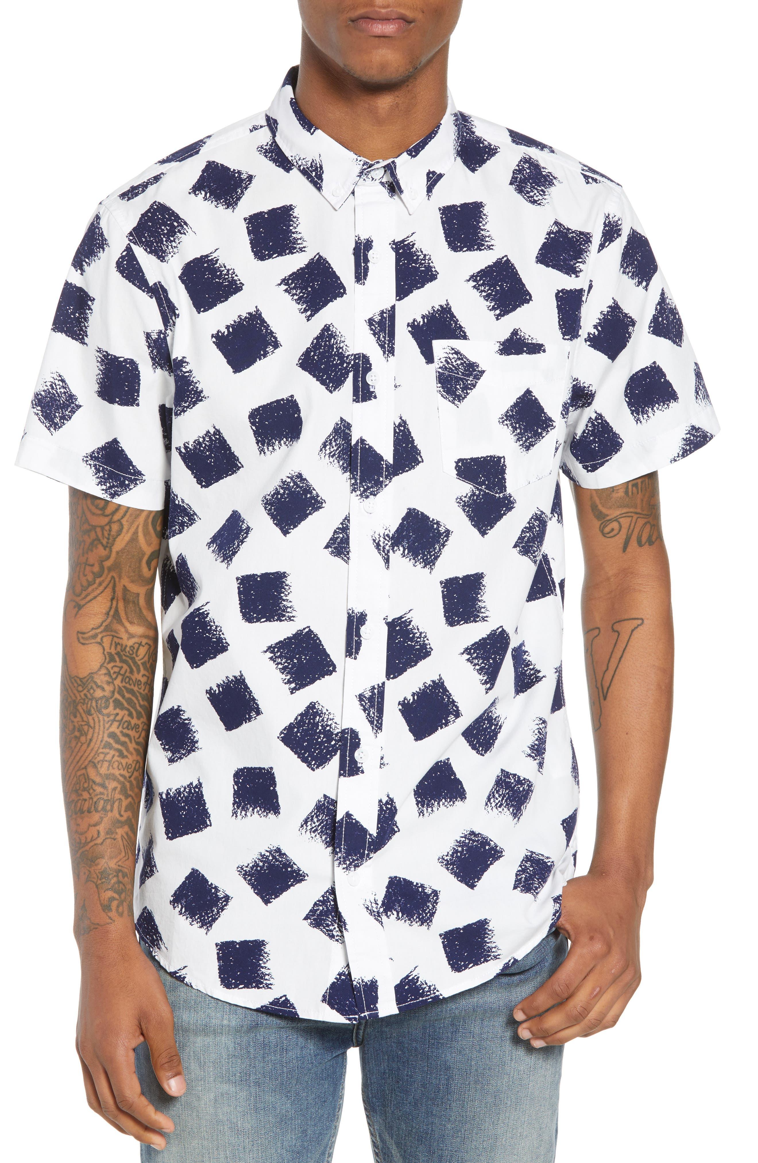 Print Nep Woven Shirt,                             Main thumbnail 1, color,                             NAVY DISTRESSED SQUARES
