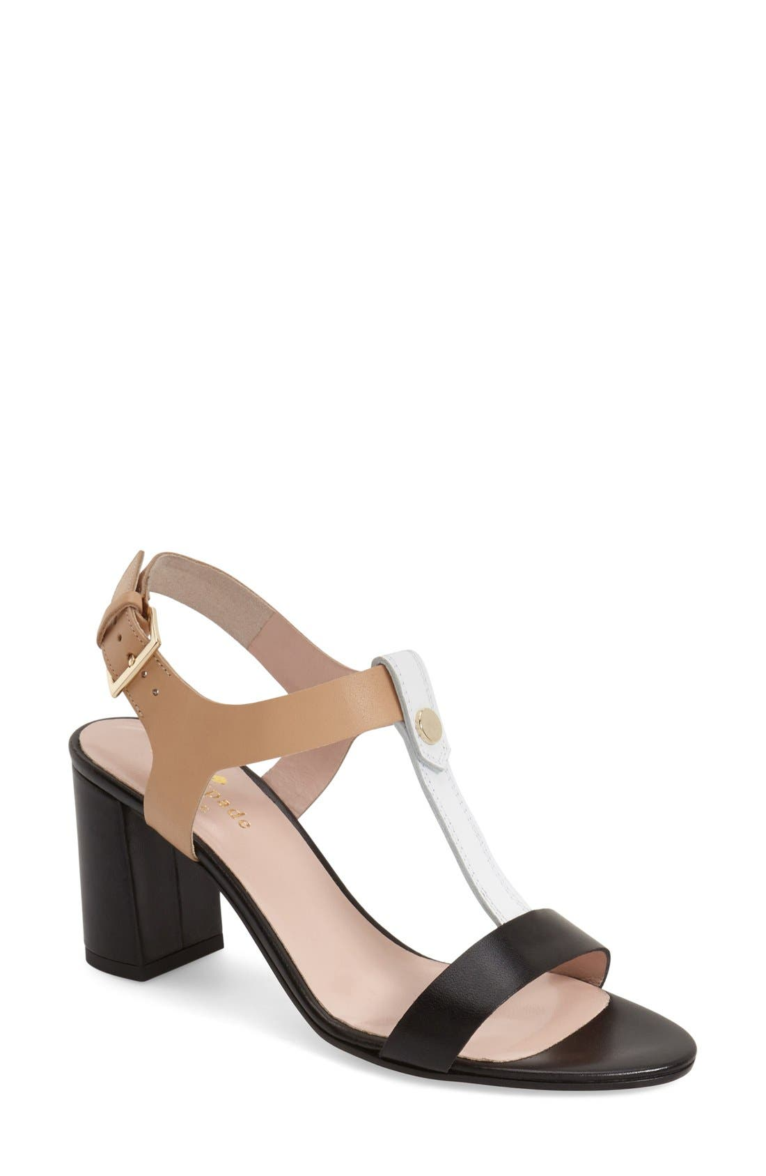 'addie' block heel t-strap sandal,                             Main thumbnail 1, color,                             003