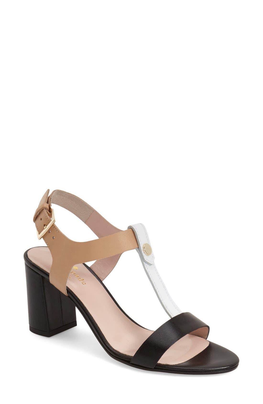 'addie' block heel t-strap sandal,                         Main,                         color, 003