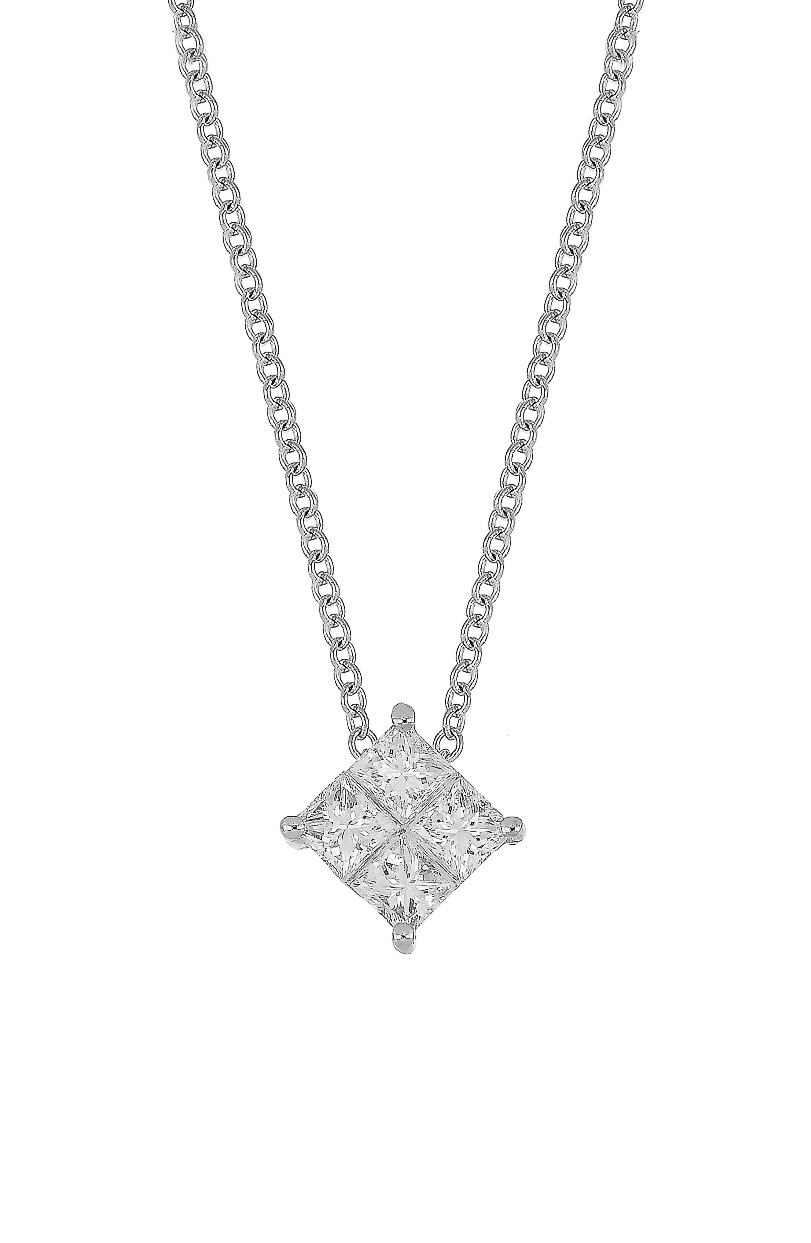 Diamond Pendant Necklace,                             Main thumbnail 1, color,                             WHITE GOLD