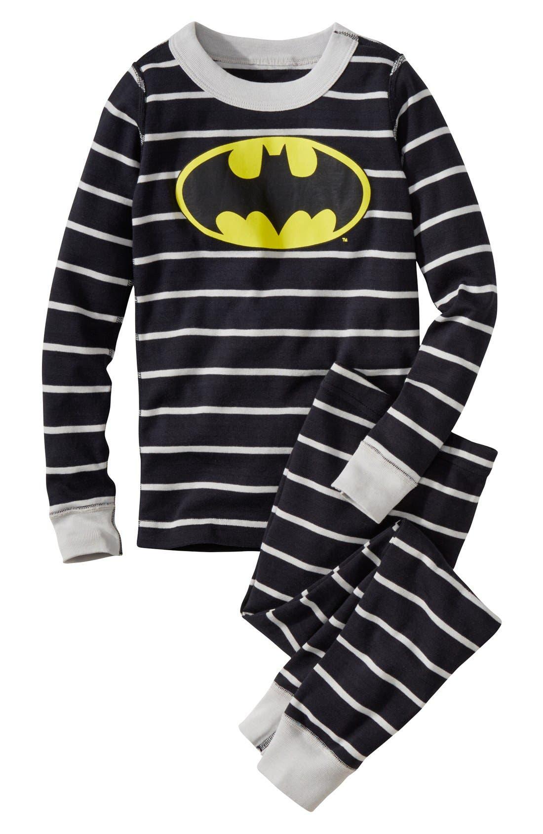 'DC Comics<sup>™</sup> Batman' Organic Cotton Fitted Two-Piece Pajamas,                             Main thumbnail 1, color,                             005