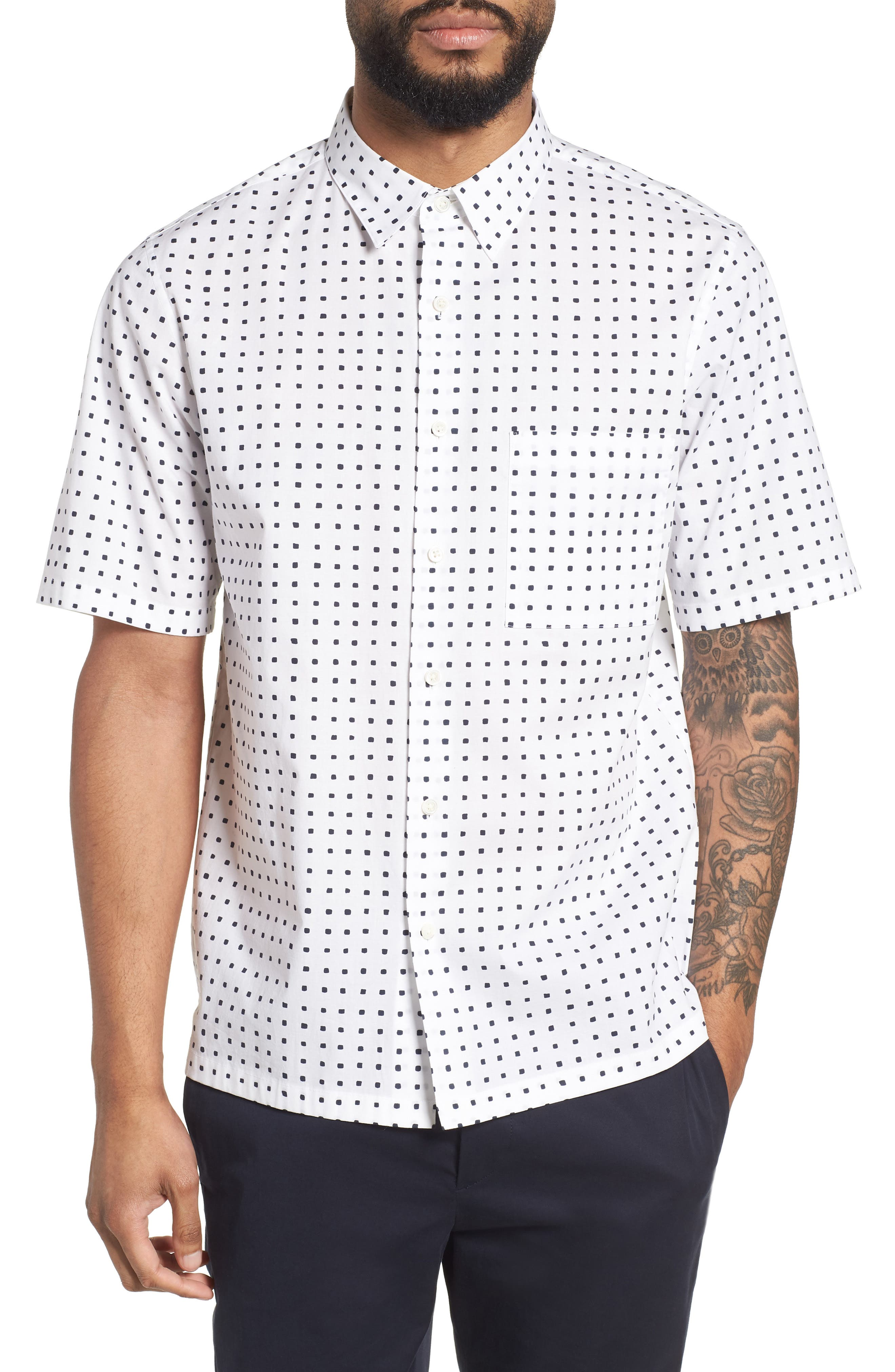 Bruner Trim Fit Dot Short Sleeve Sport Shirt,                             Main thumbnail 1, color,                             110