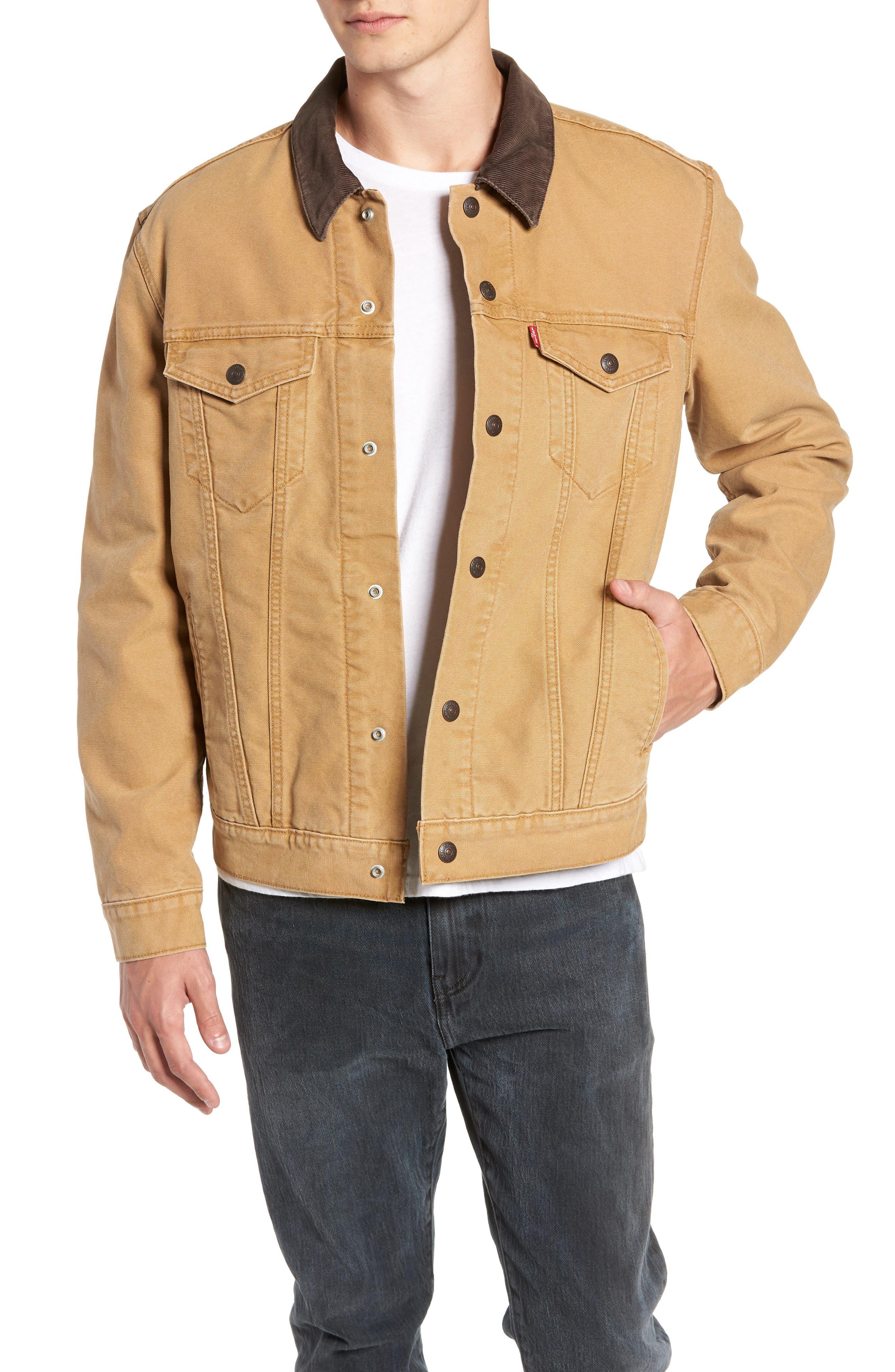 x Justin Timberlake Canvas Trucker Jacket,                             Main thumbnail 1, color,                             DIJON