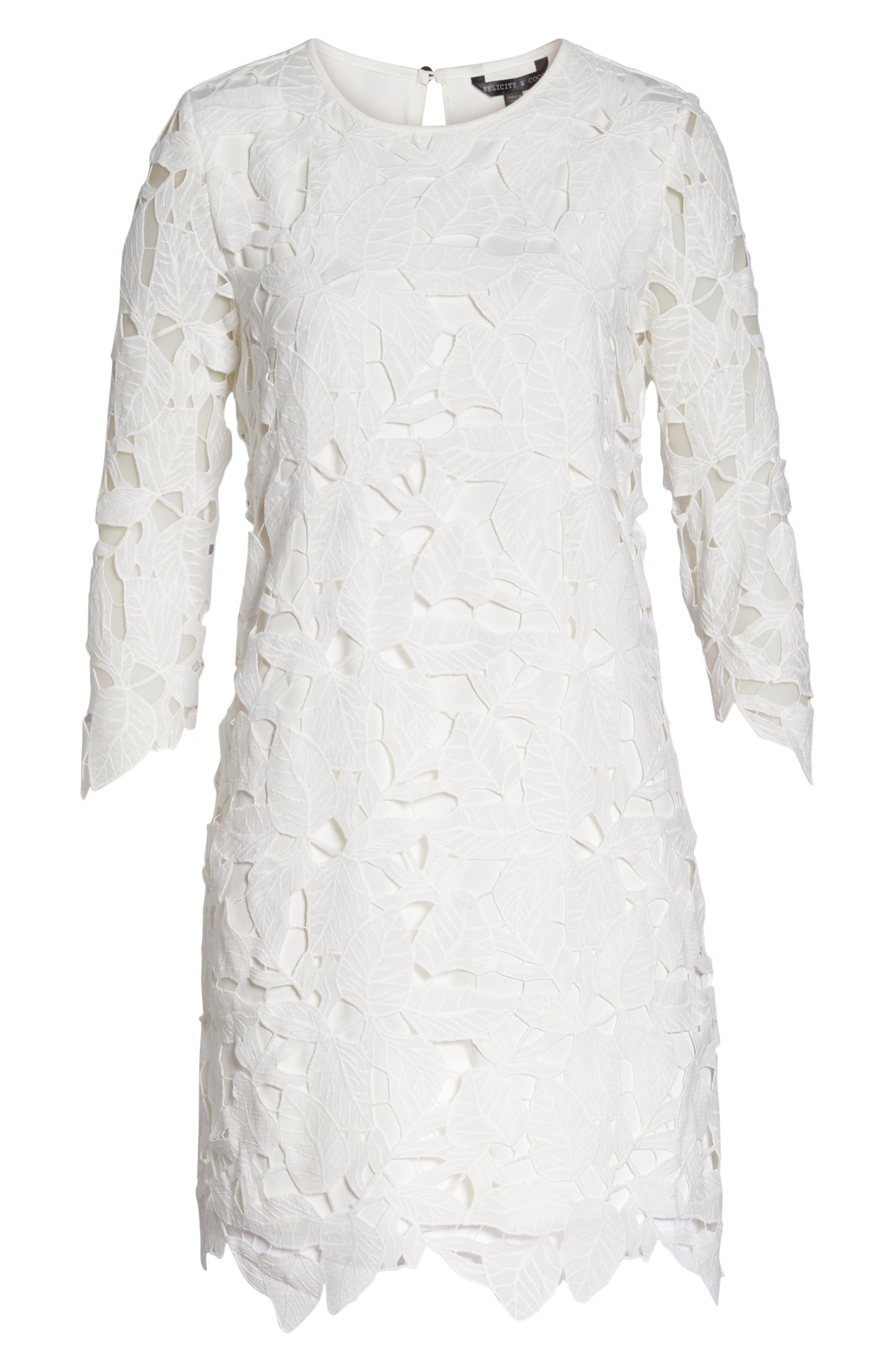 Skye Lace Shift Dress,                             Alternate thumbnail 7, color,                             100