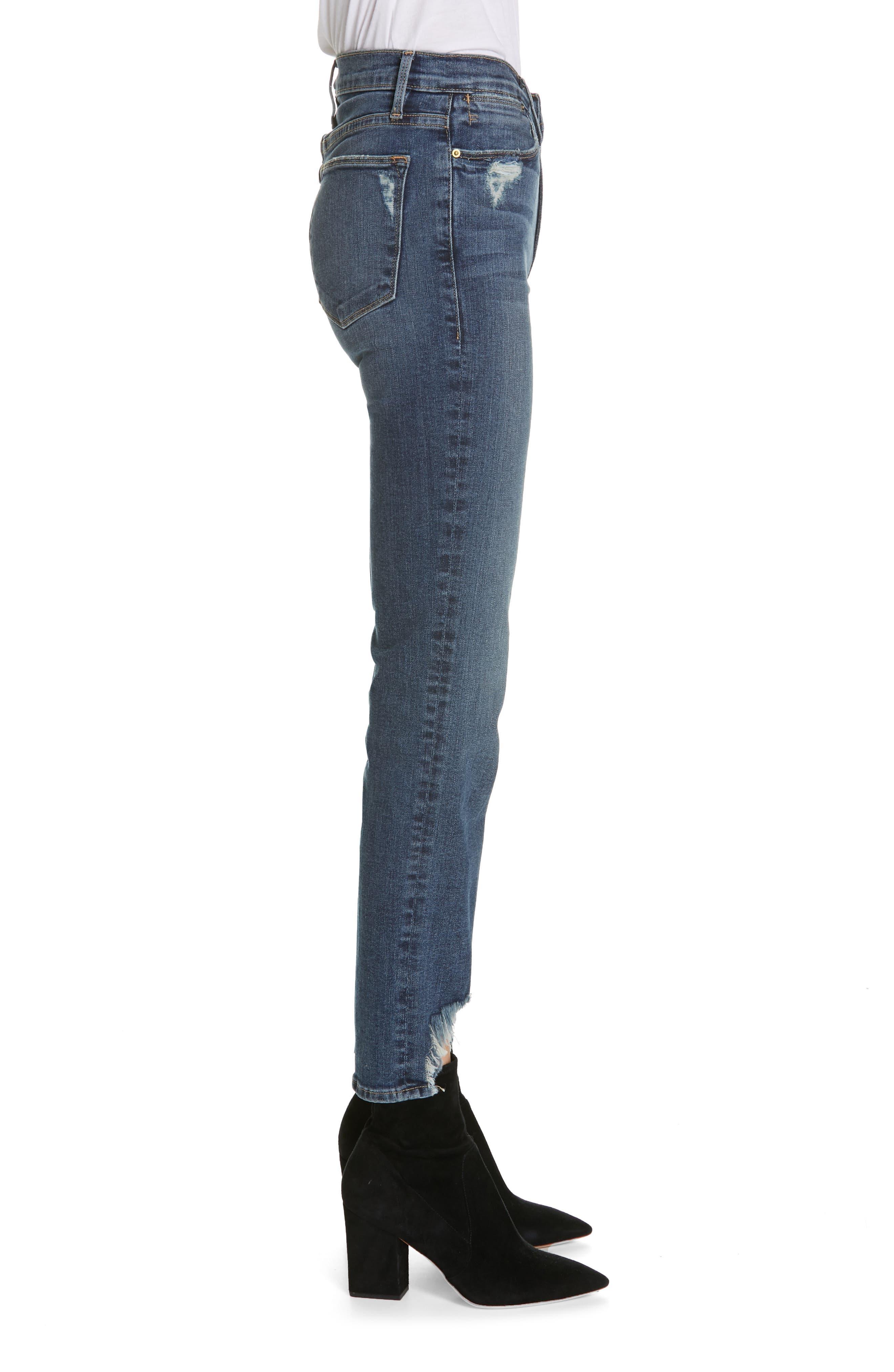 FRAME,                             Le High Straight Curve Hem Jeans,                             Alternate thumbnail 4, color,                             RUE